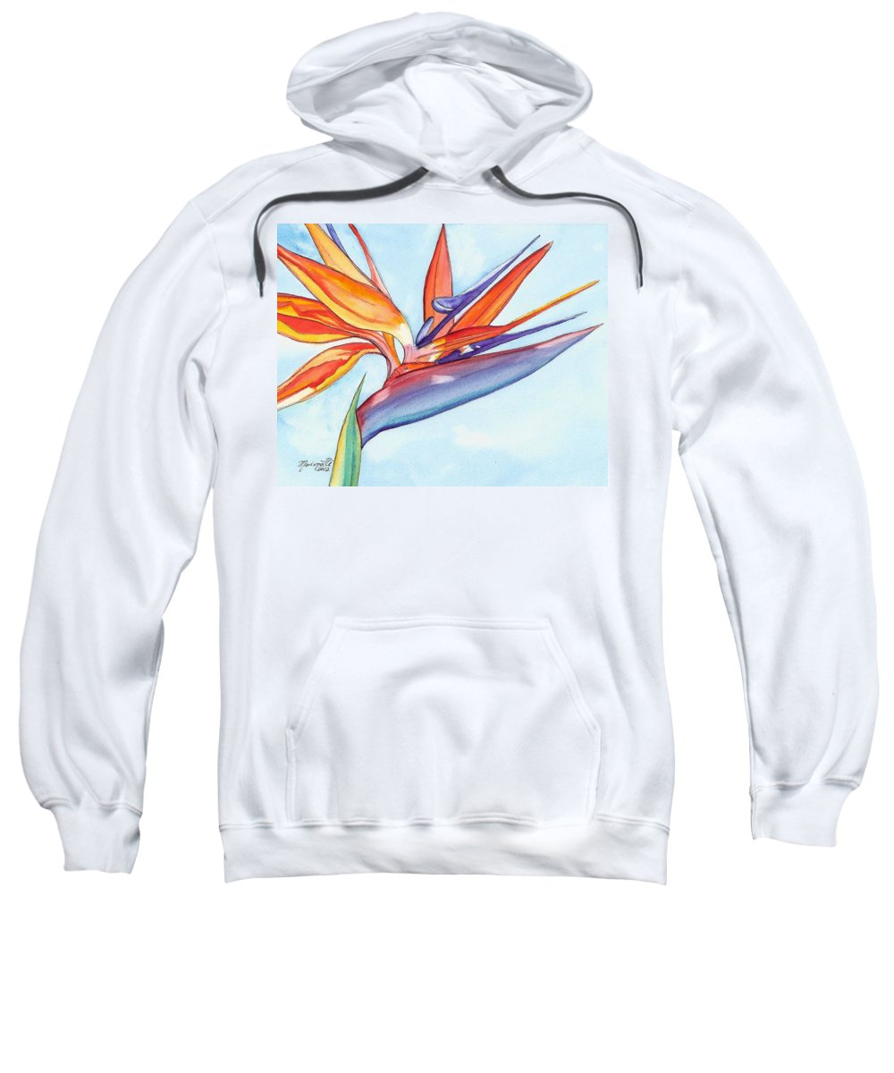 Bird Of Paradise Sweatshirt featuring the painting Bird Of Paradise IIi by Marionette Taboniar