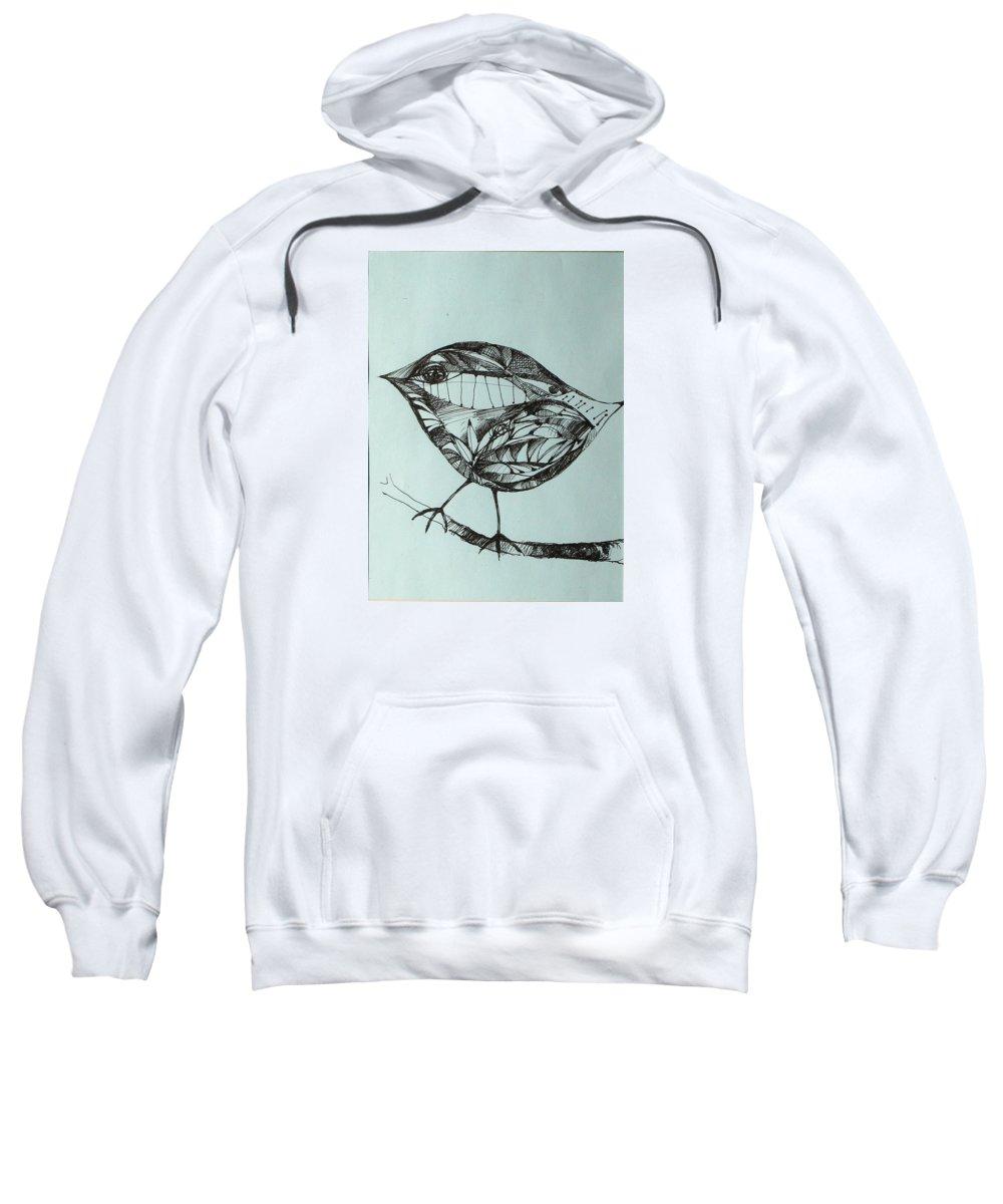 Artwork Sweatshirt featuring the drawing Bird On A Brench by Cristina Rettegi