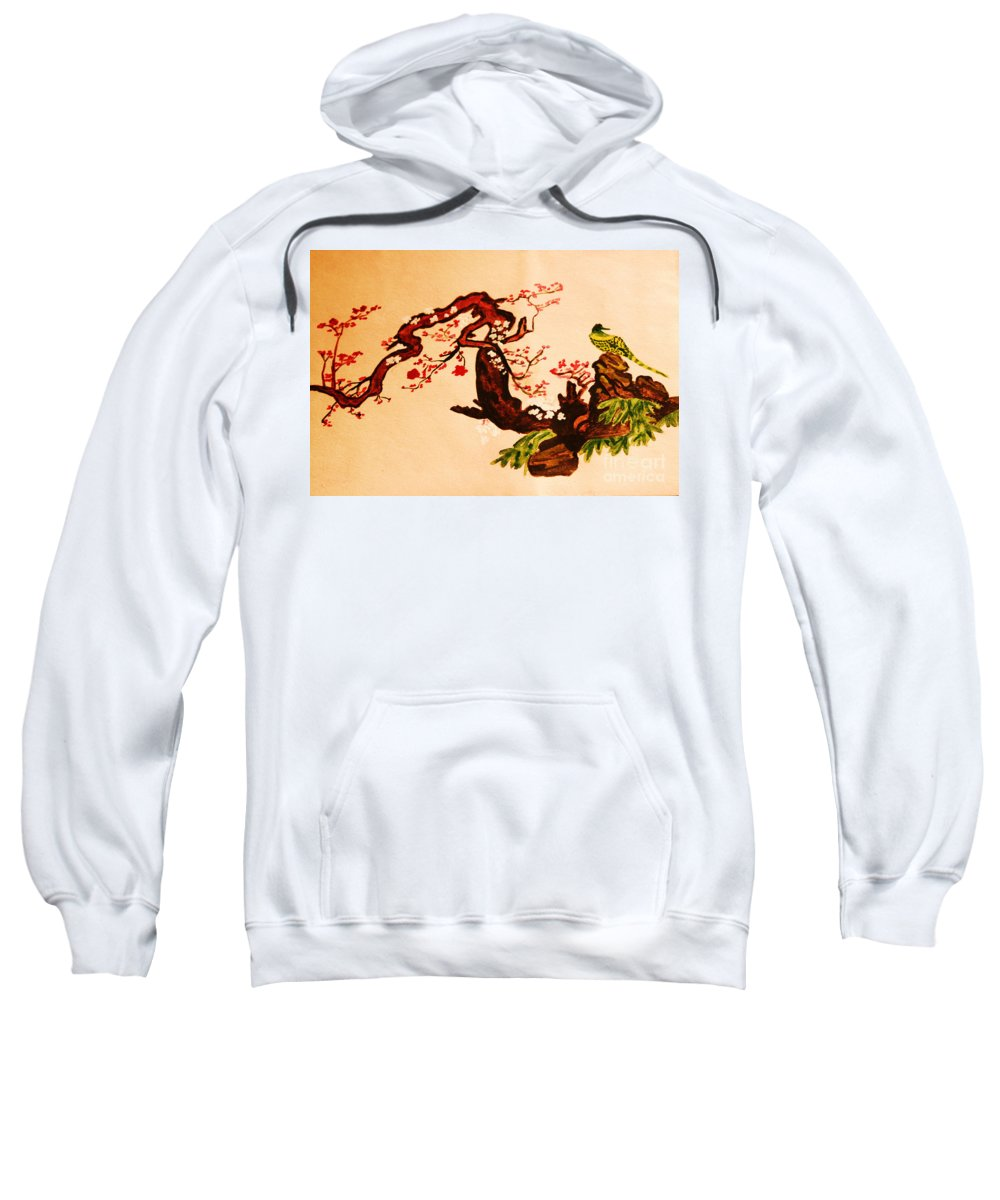 Hand Drawn Sweatshirt featuring the painting Bird On Branch by Irina Afonskaya