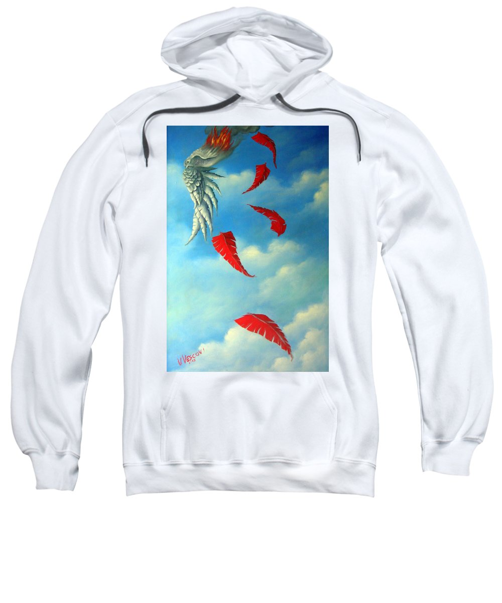 Surreal Sweatshirt featuring the painting Bird On Fire by Valerie Vescovi
