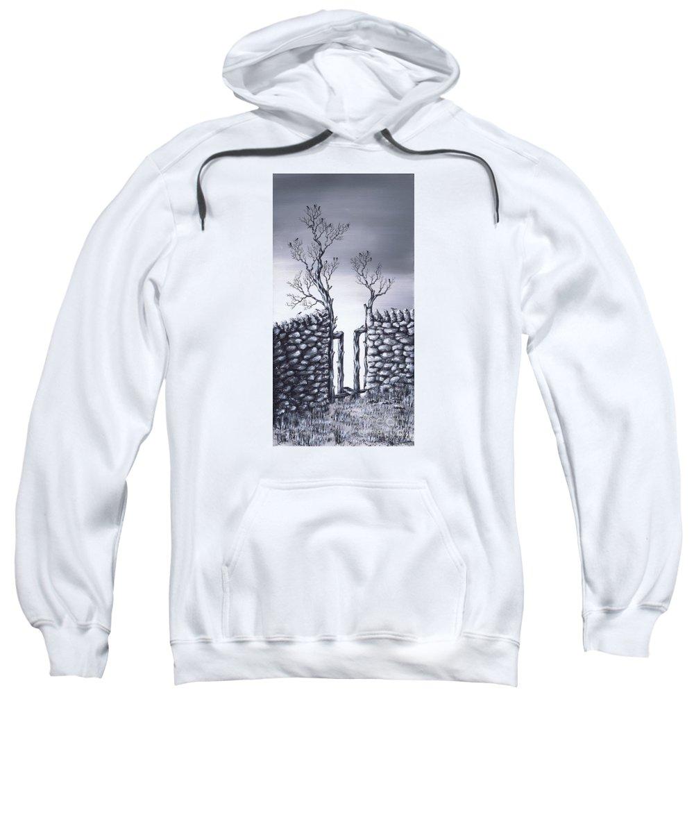 Birds Sweatshirt featuring the painting Bird Tree by Kenneth Clarke