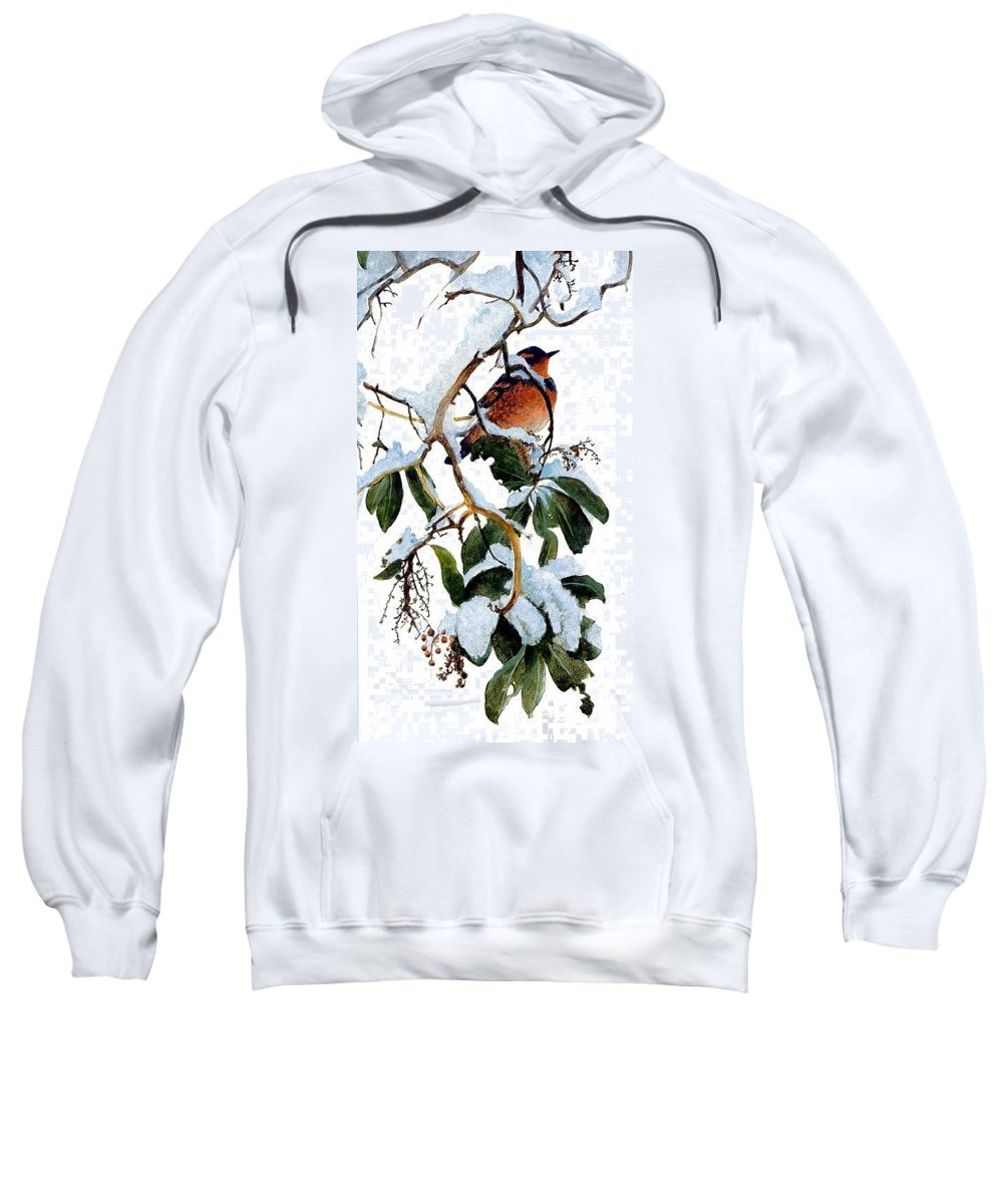 Tree Sweatshirt featuring the digital art Birds 05 Varied Thrush On Arbutus Robert Bateman Sqs Robert Bateman by Eloisa Mannion