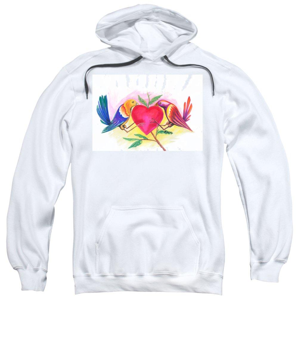 Love Sweatshirt featuring the painting Birds In Love 01 by Emmanuel Baliyanga