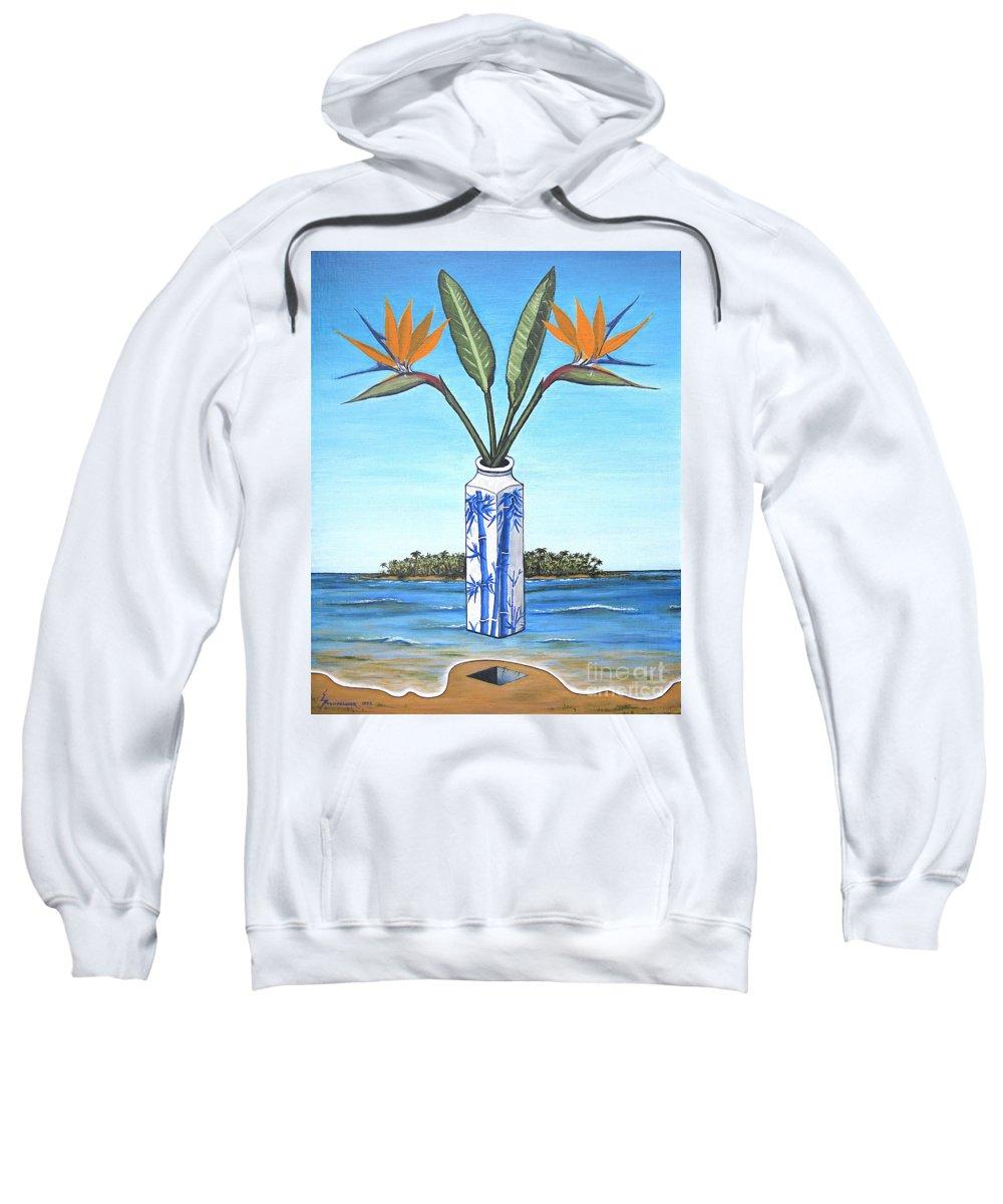 Bird Of Paradise Sweatshirt featuring the painting Birds Over Paradise Flowers by Jerome Stumphauzer