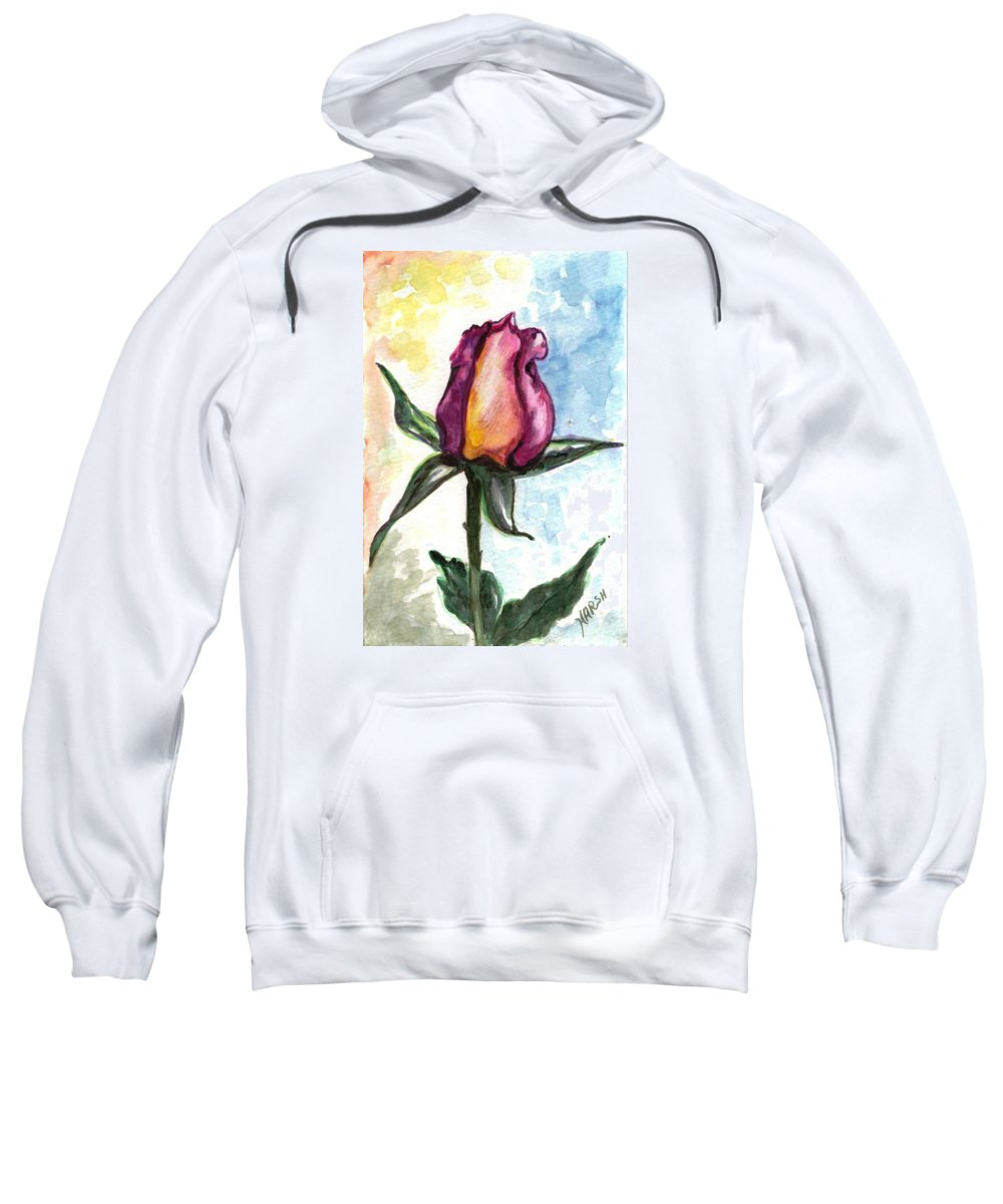 Flowers Sweatshirt featuring the painting Birth Of A Life by Harsh Malik