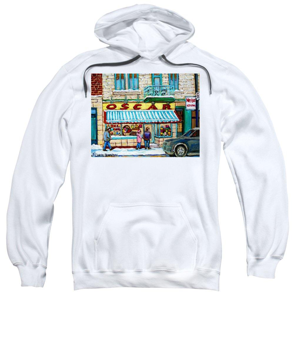 Biscuiterie Oscar Sweatshirt featuring the painting Biscuiterie Oscar Rue Ontario by Carole Spandau