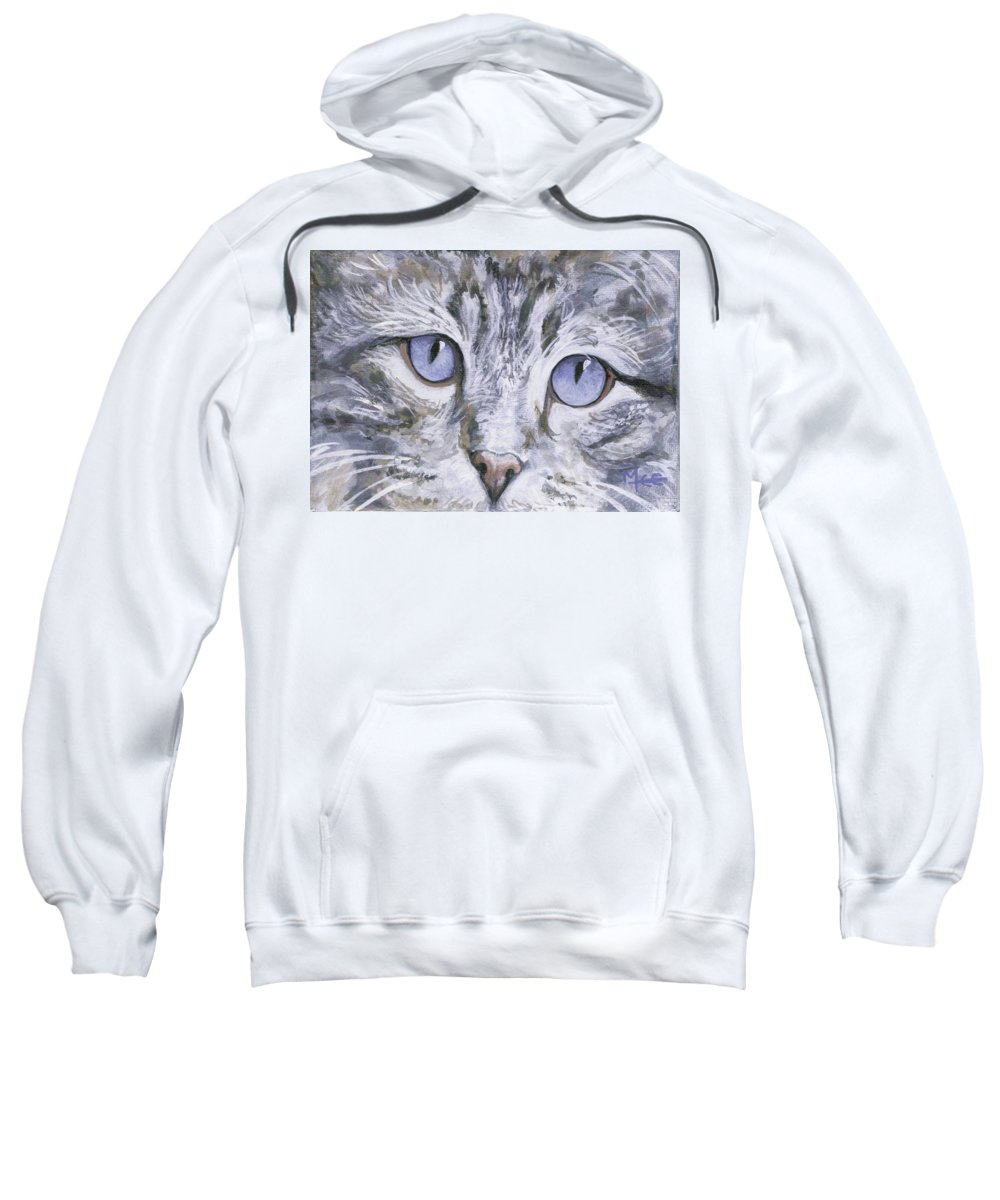 Charity Sweatshirt featuring the painting Bisous by Mary-Lee Sanders
