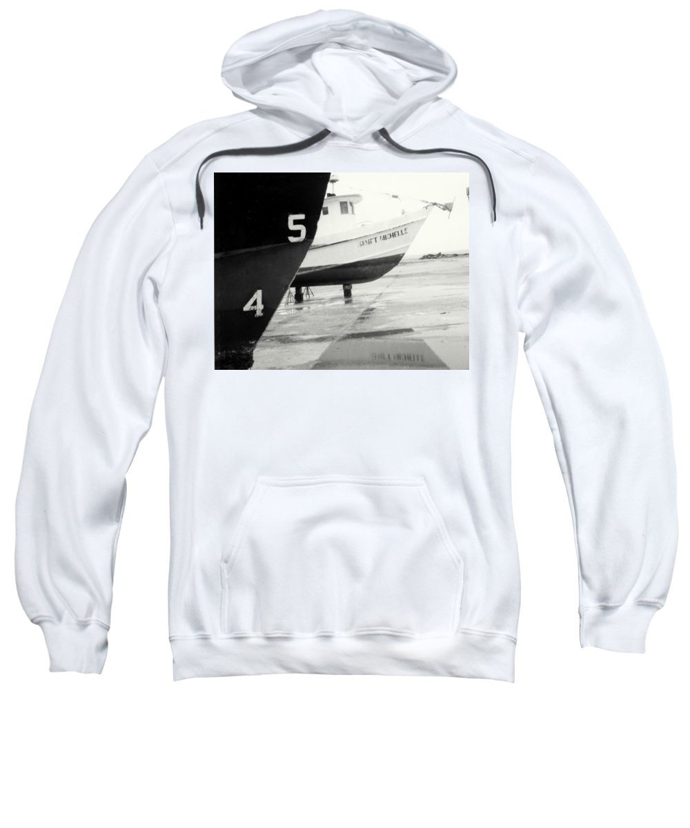 Boat Reflection Black And White Sweatshirt featuring the photograph Black And White Boat Reflection by Cindy New