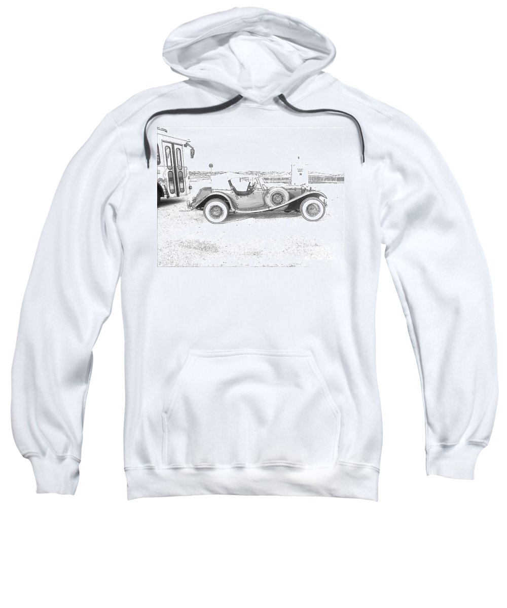Black And White Car Sweatshirt featuring the photograph Black And White Car by Michelle Powell
