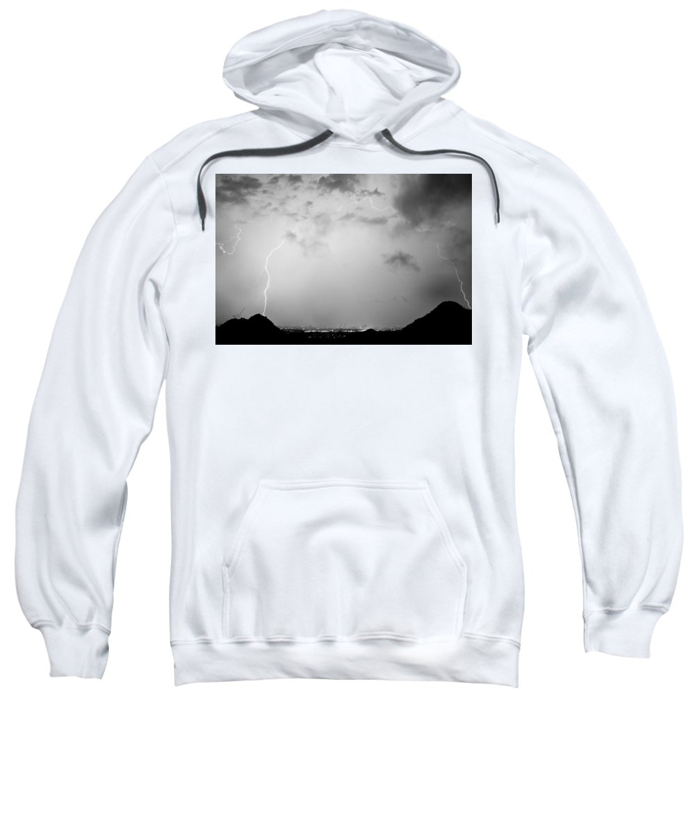 Lightning Sweatshirt featuring the photograph Black And White Lightning Dome Over City Lights by James BO Insogna