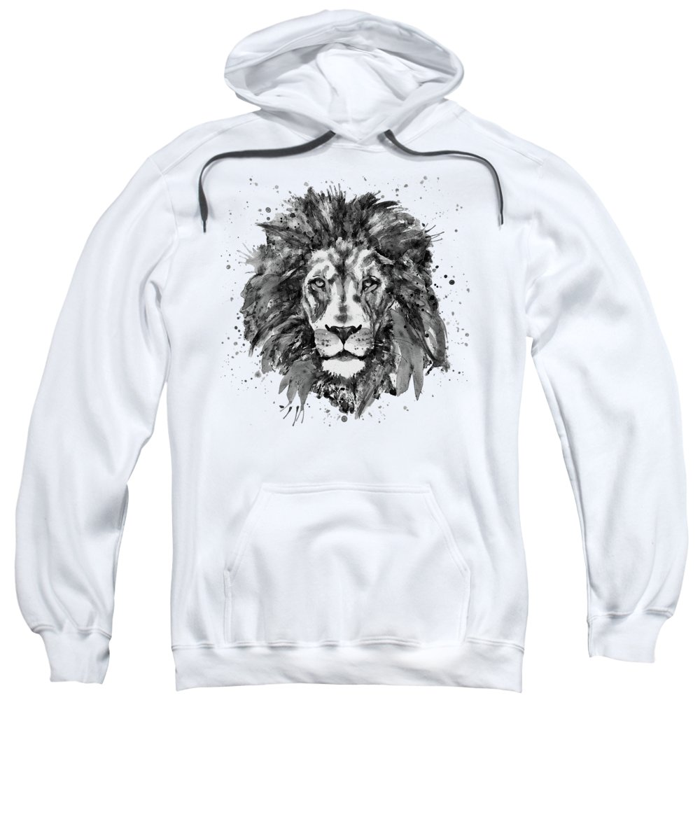 Lion Sweatshirt featuring the painting Black And White Lion Head by Marian Voicu
