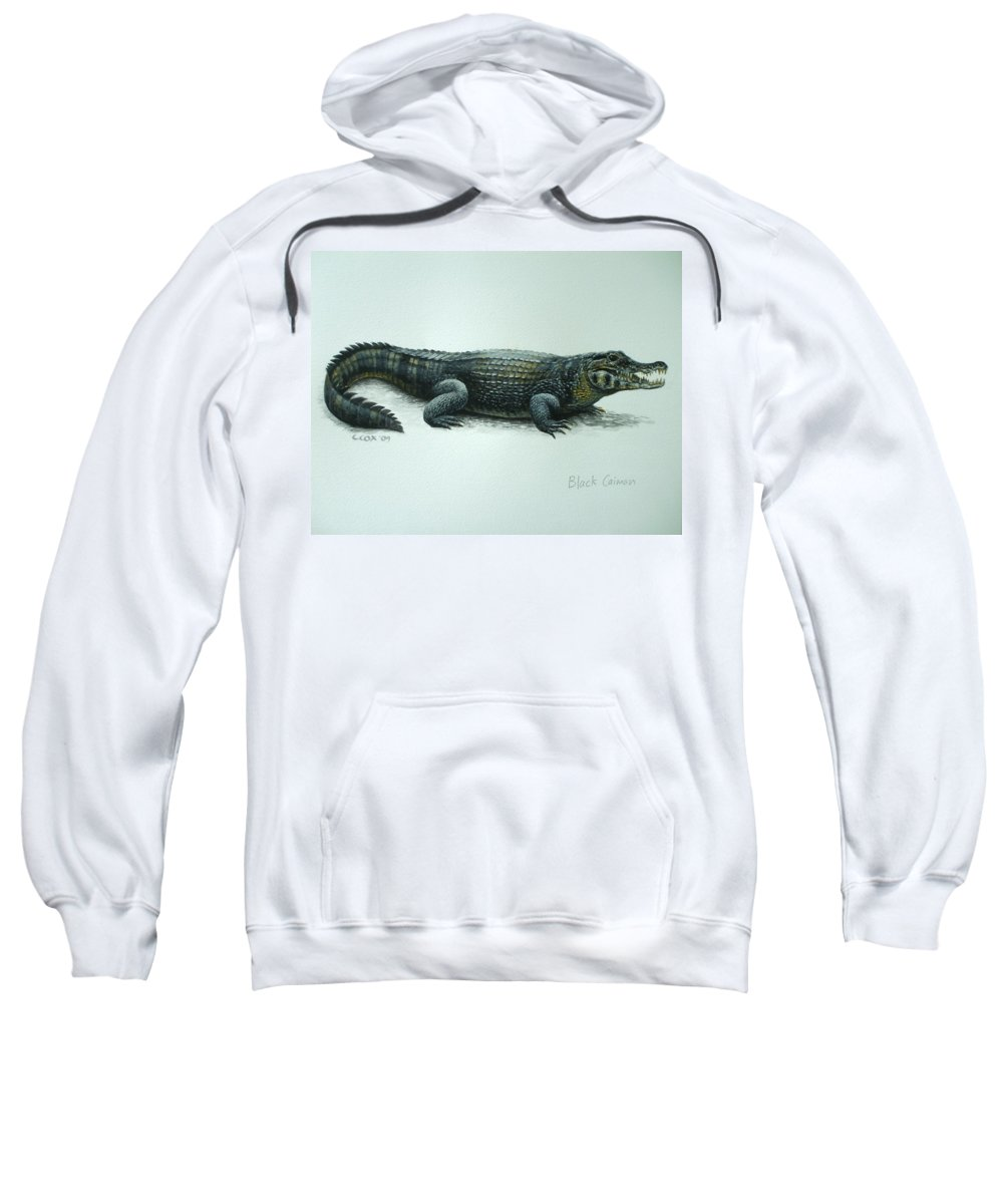 Black Caiman Sweatshirt featuring the painting Black Caiman by Christopher Cox