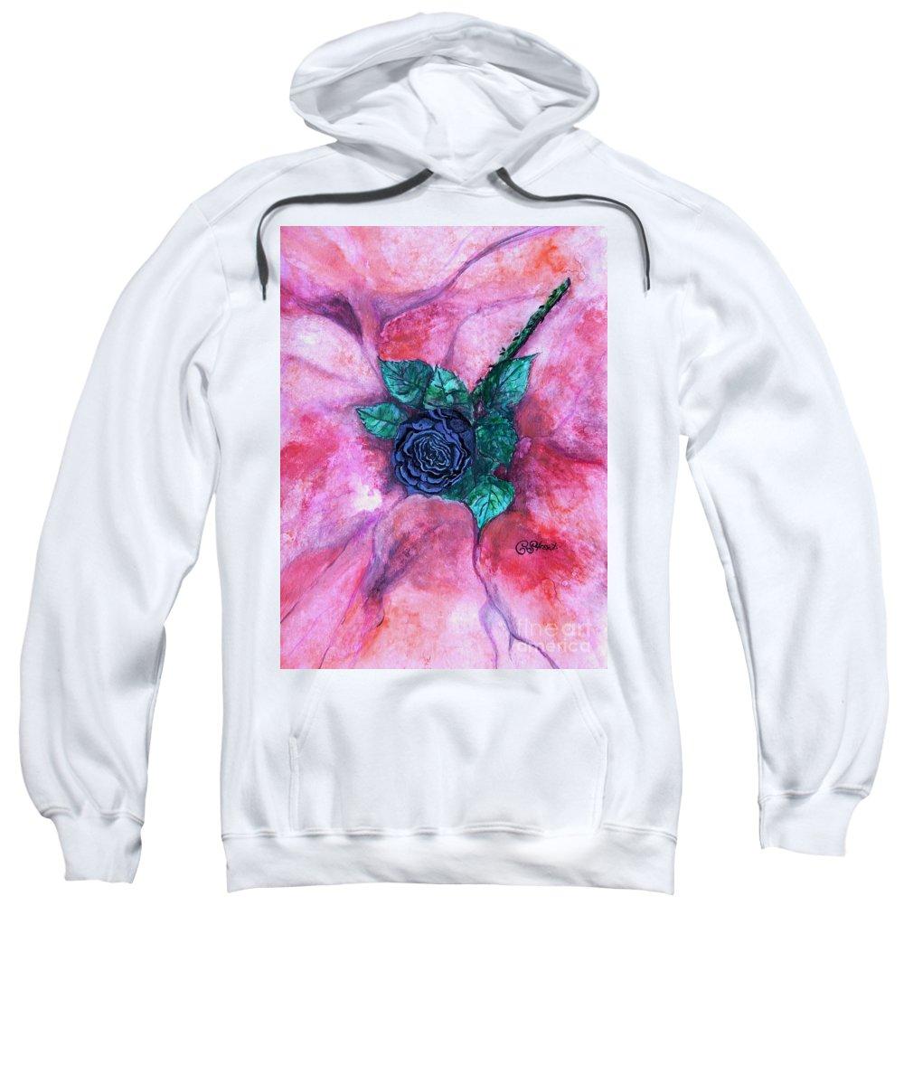 Black Rose Sweatshirt featuring the painting Black Rose by Caroline Street