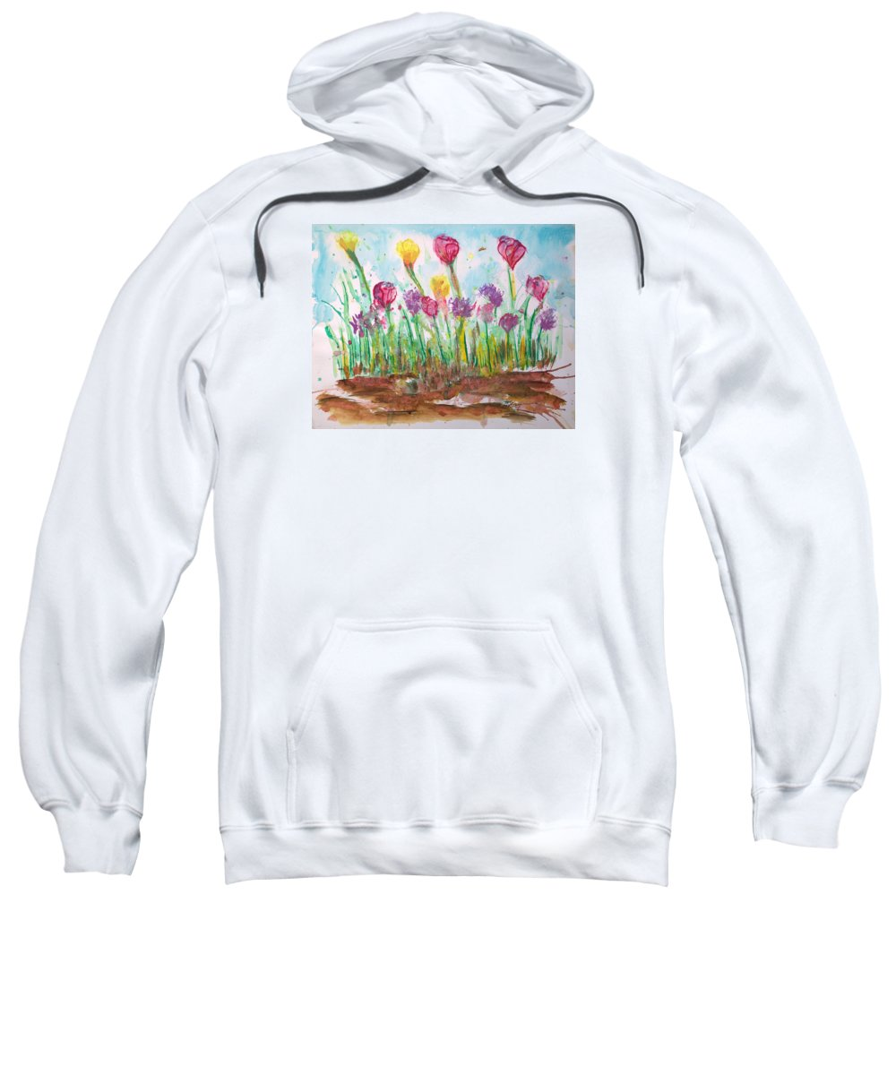 Flowers Sweatshirt featuring the painting Blooming Colors by J R Seymour