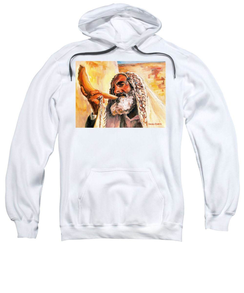Rabbis Sweatshirt featuring the painting Blow The Trumpet In Zion by Carole Spandau