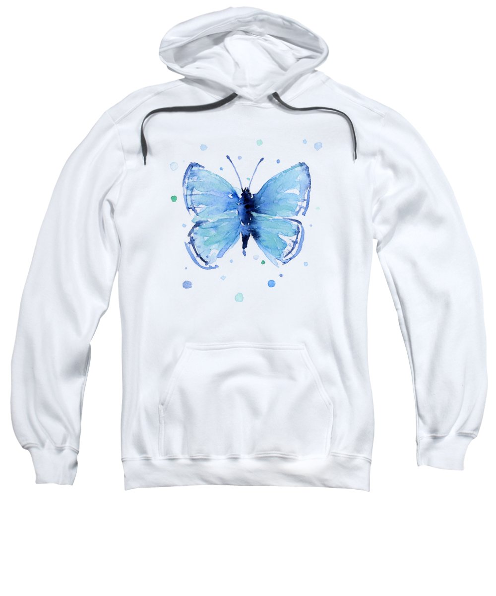 Watercolor Sweatshirt featuring the painting Blue Abstract Butterfly by Olga Shvartsur