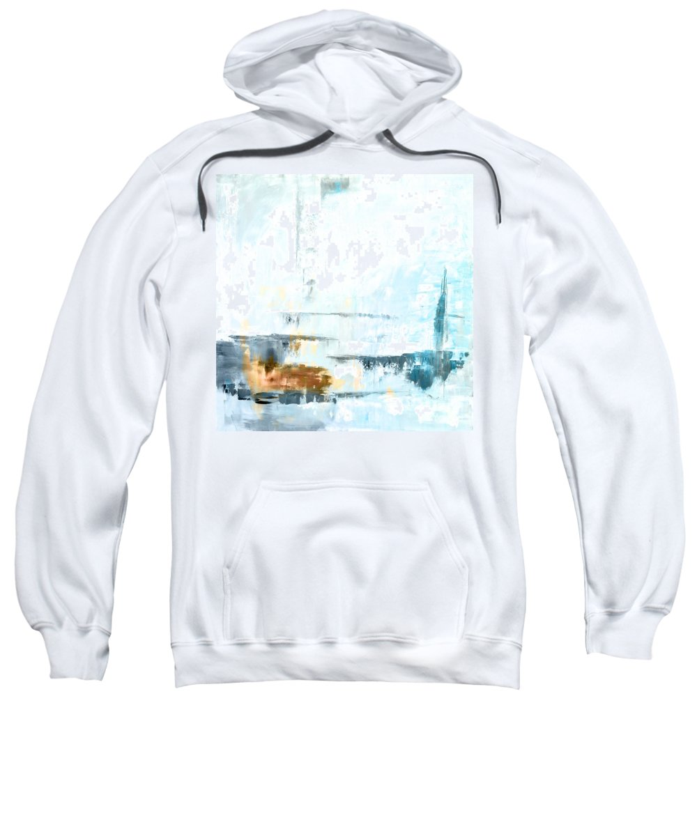 Blue Sweatshirt featuring the painting Blue Abstract 12m1 by Voros Edit