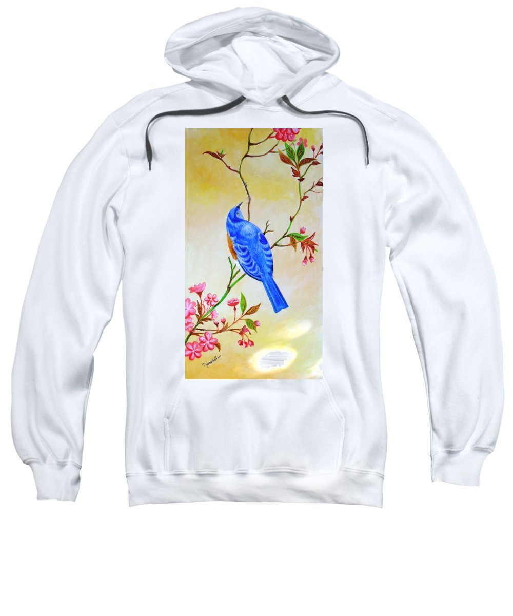 Nature Sweatshirt featuring the painting Blue Bird On Cherry Blossom by Tc Tender Touch