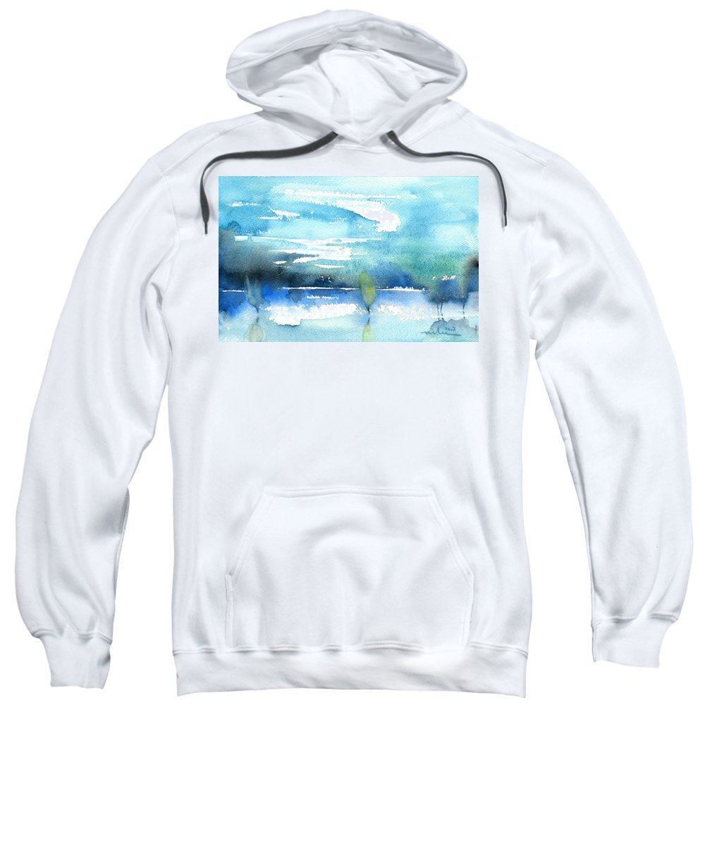 Impressionism Sweatshirt featuring the painting Blue Blue The World Is Blue by Miki De Goodaboom