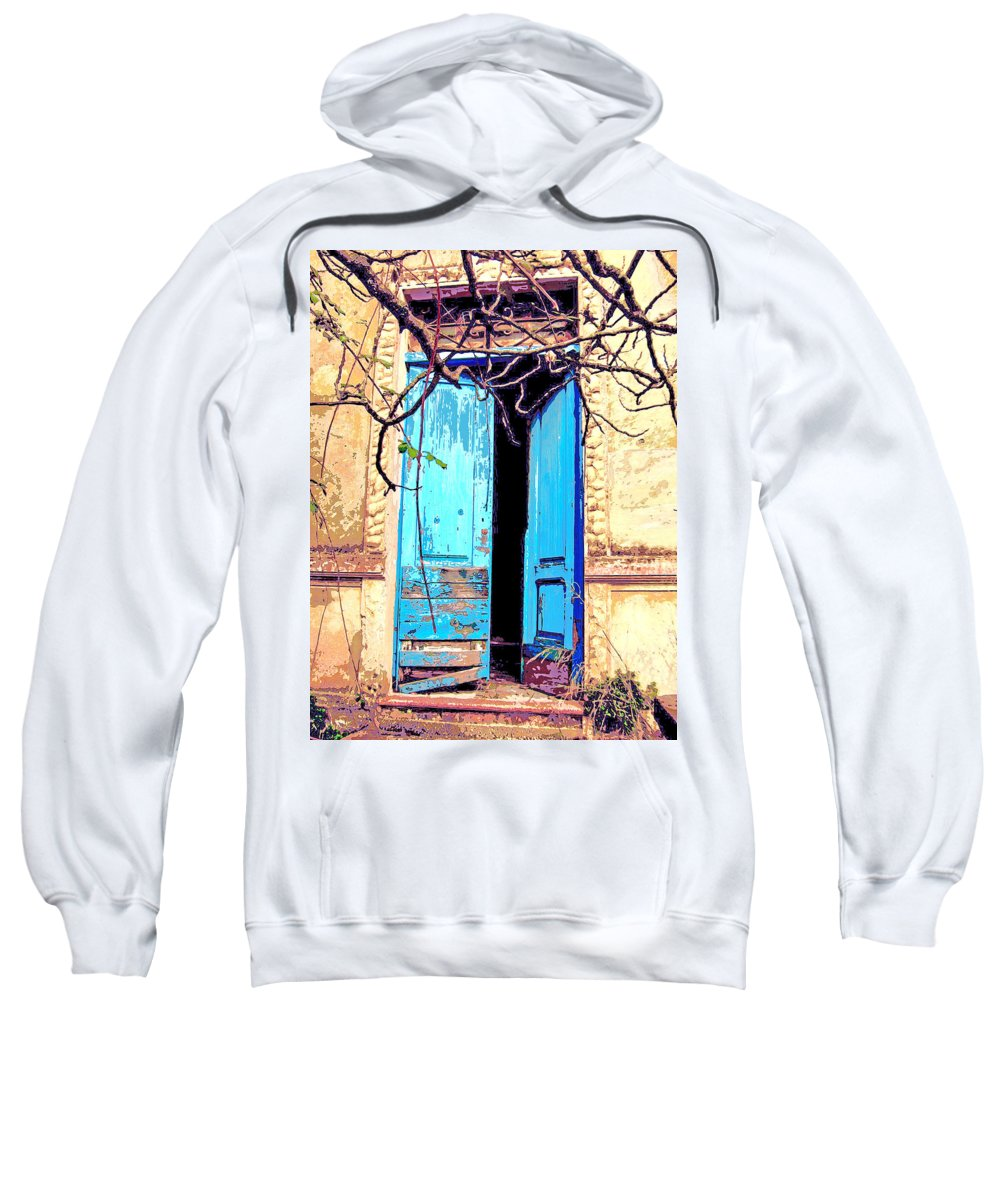Blue Doors Sweatshirt featuring the mixed media Blue Doors In Tuscany by Dominic Piperata