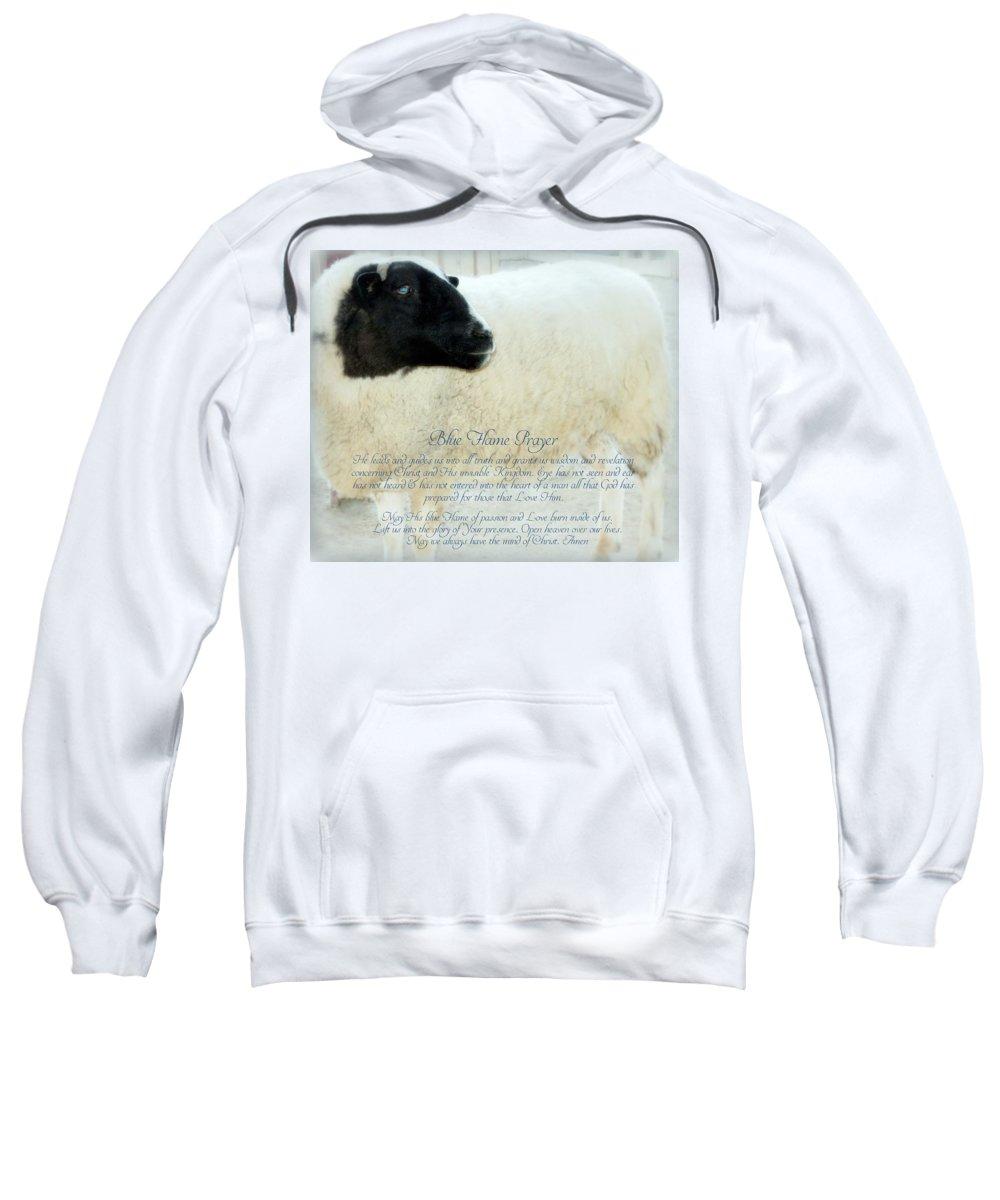 Sheep Sweatshirt featuring the photograph Blue Flame Prayer by Karen Jbon Lee