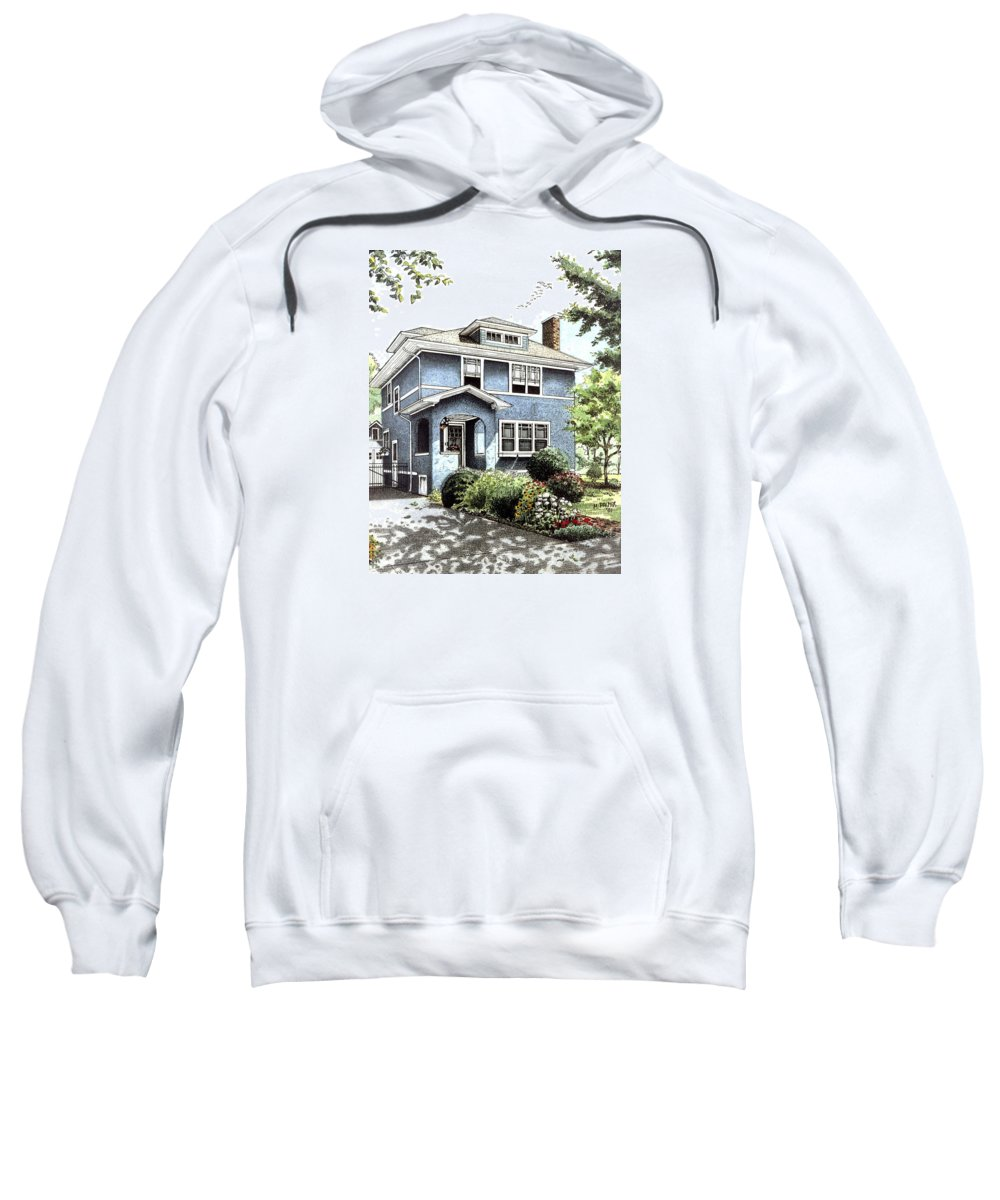 House Sweatshirt featuring the drawing Blue House by Mary Palmer