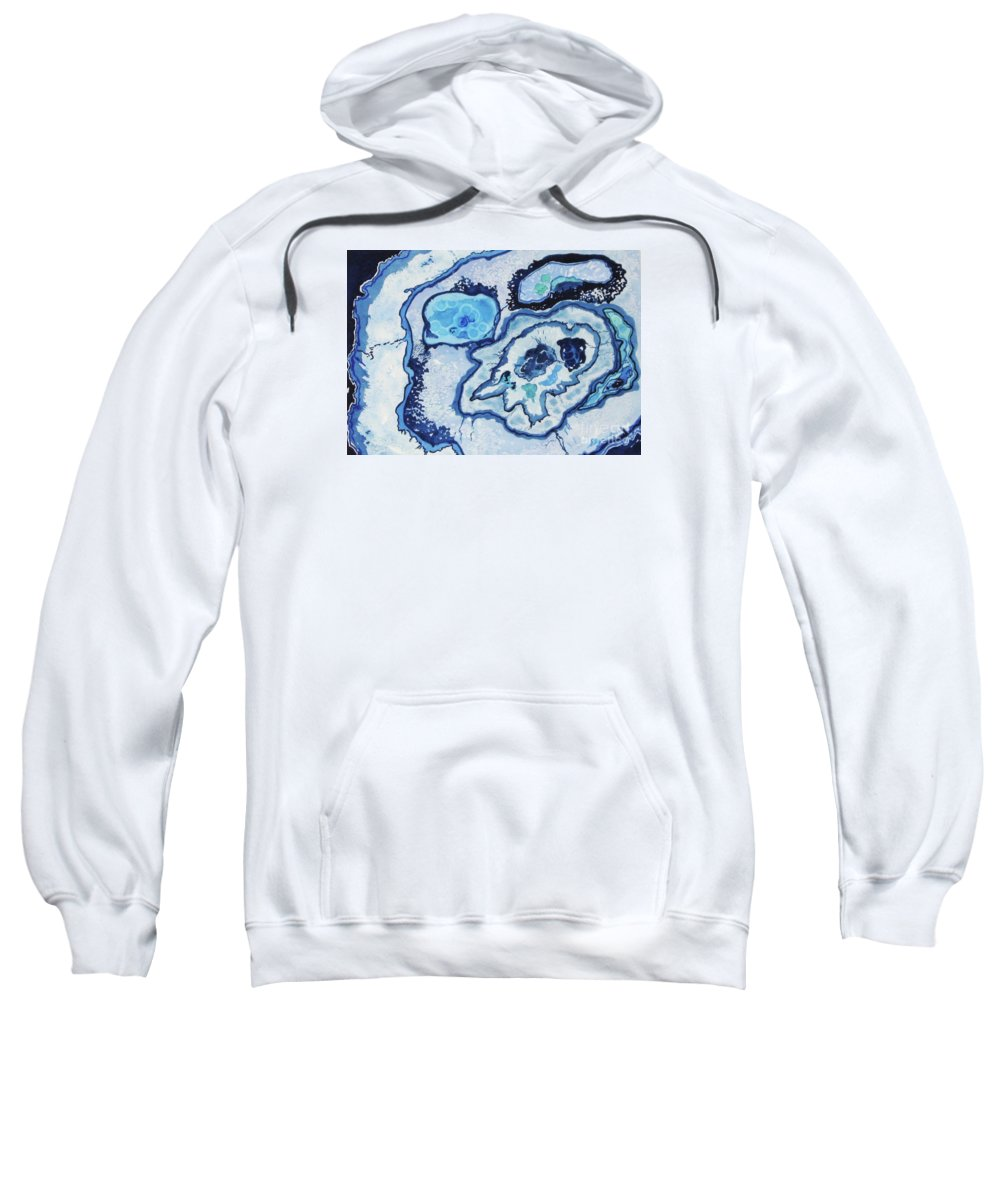 Abstract Sweatshirt featuring the painting Blue Lace Agate I by Ellen Levinson