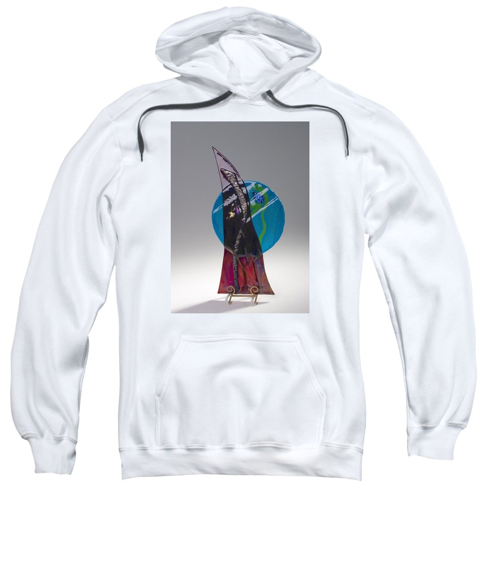Fused Art Glass Sweatshirt featuring the photograph Blue Moon Rising by Mykel Davis