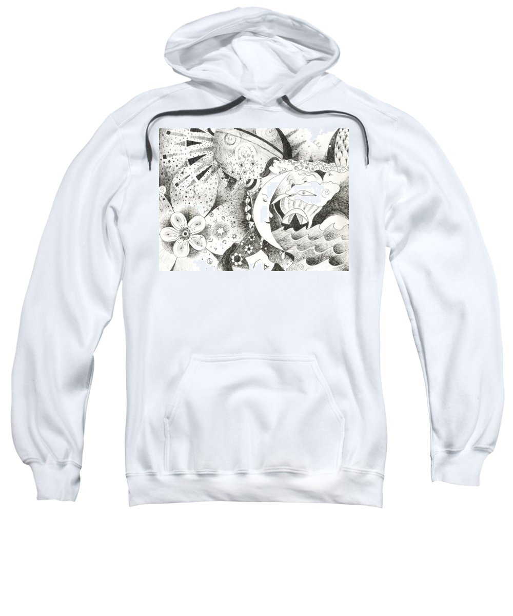 Surreal Sweatshirt featuring the drawing Blue Moons And Tidbits by Helena Tiainen