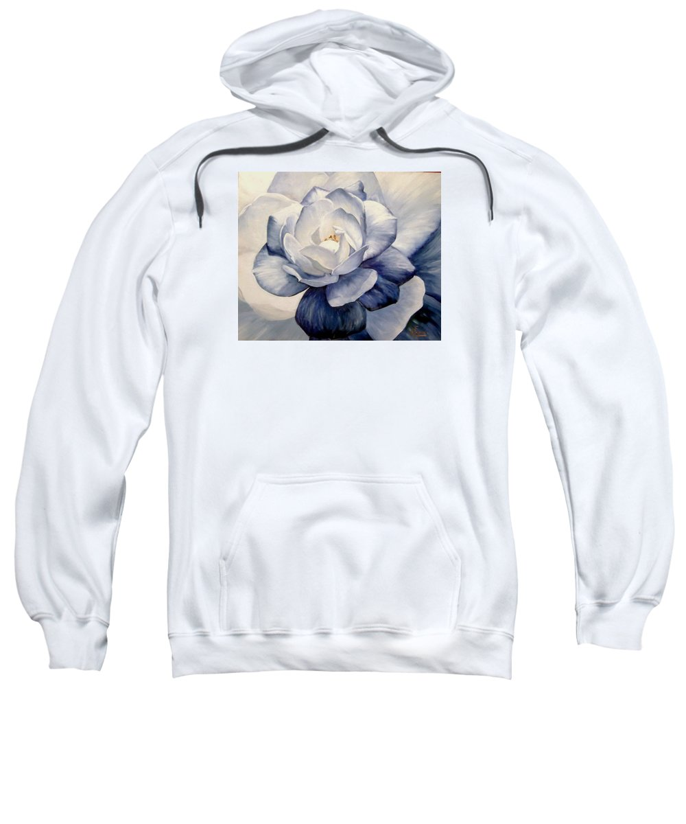 Flower Macro Nature Blue Gardenia Sweatshirt featuring the painting Blue by Natalia Tejera