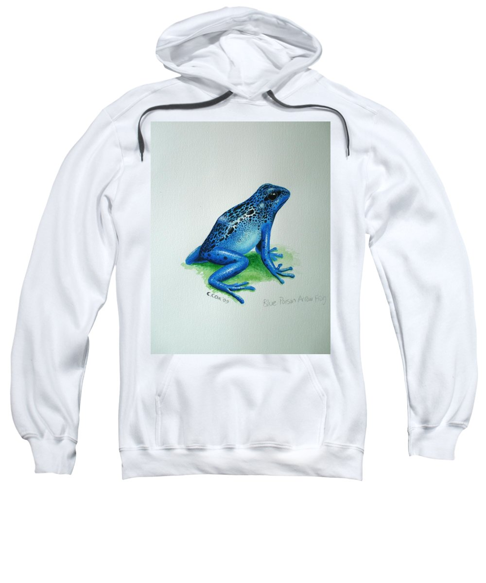 Poison Arrow Frog Sweatshirt featuring the painting Blue Poison Arrow Frog by Christopher Cox