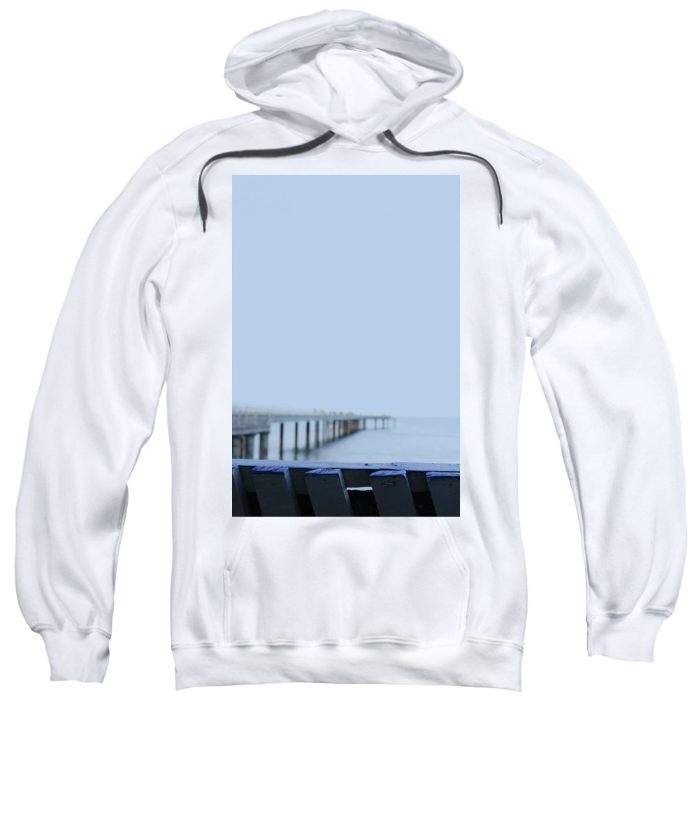 Blue Sweatshirt featuring the photograph Blue Railing by Douglas Barnard