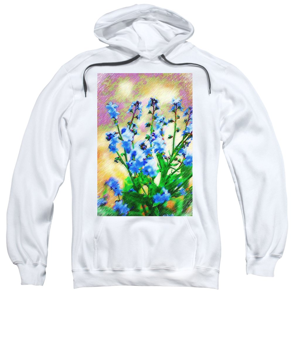 Blue Sweatshirt featuring the photograph Blue Wildflowers by Donna Bentley