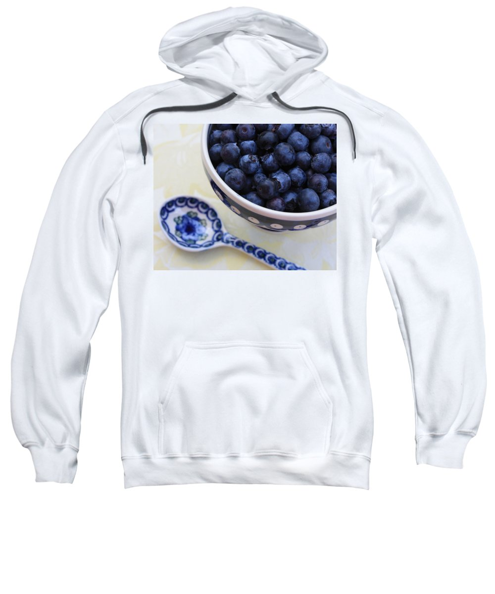 Still Life Of Fruit Sweatshirt featuring the photograph Blueberries And Spoon by Carol Groenen