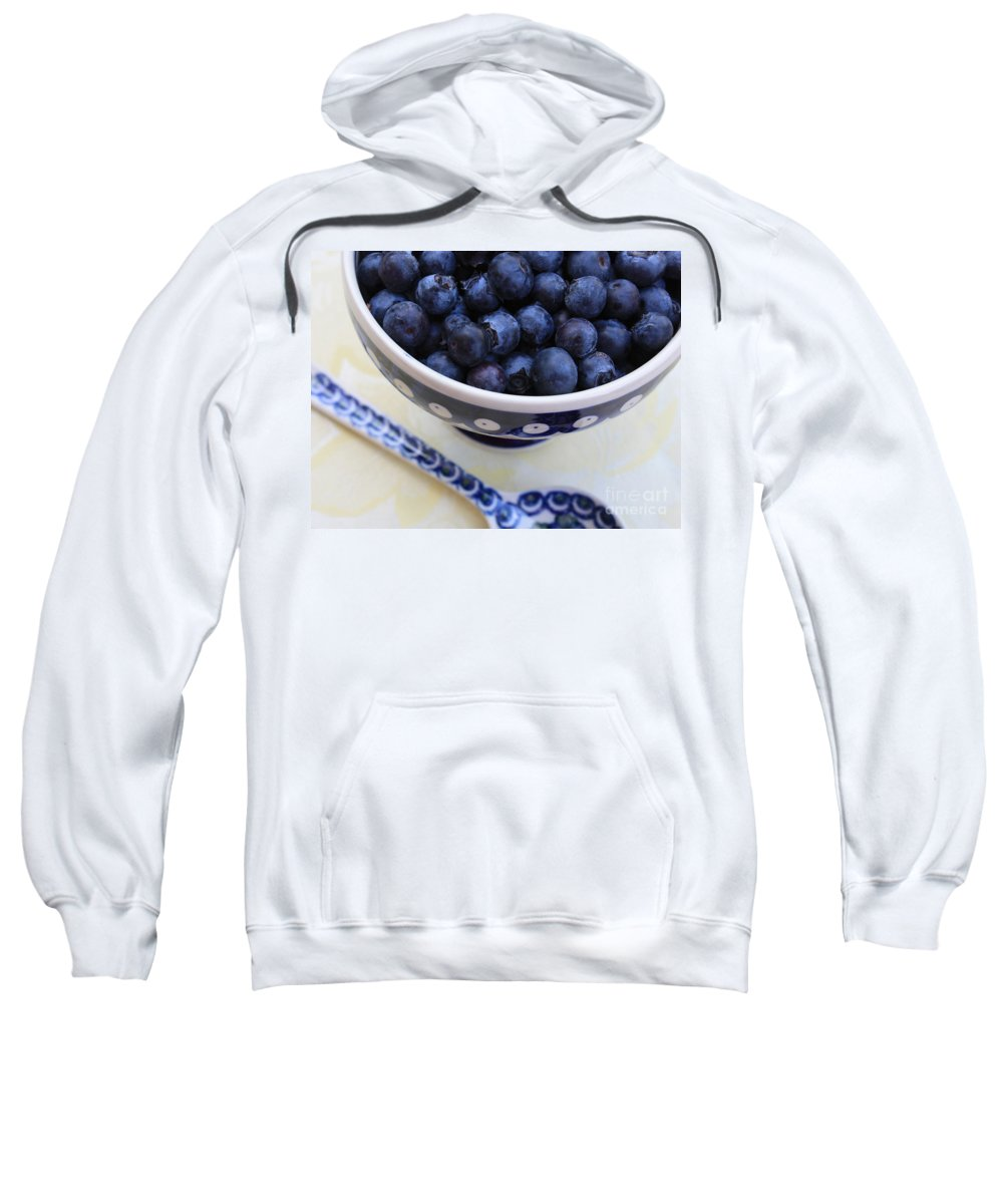 Food Sweatshirt featuring the photograph Blueberries In Polish Pottery Bowl by Carol Groenen