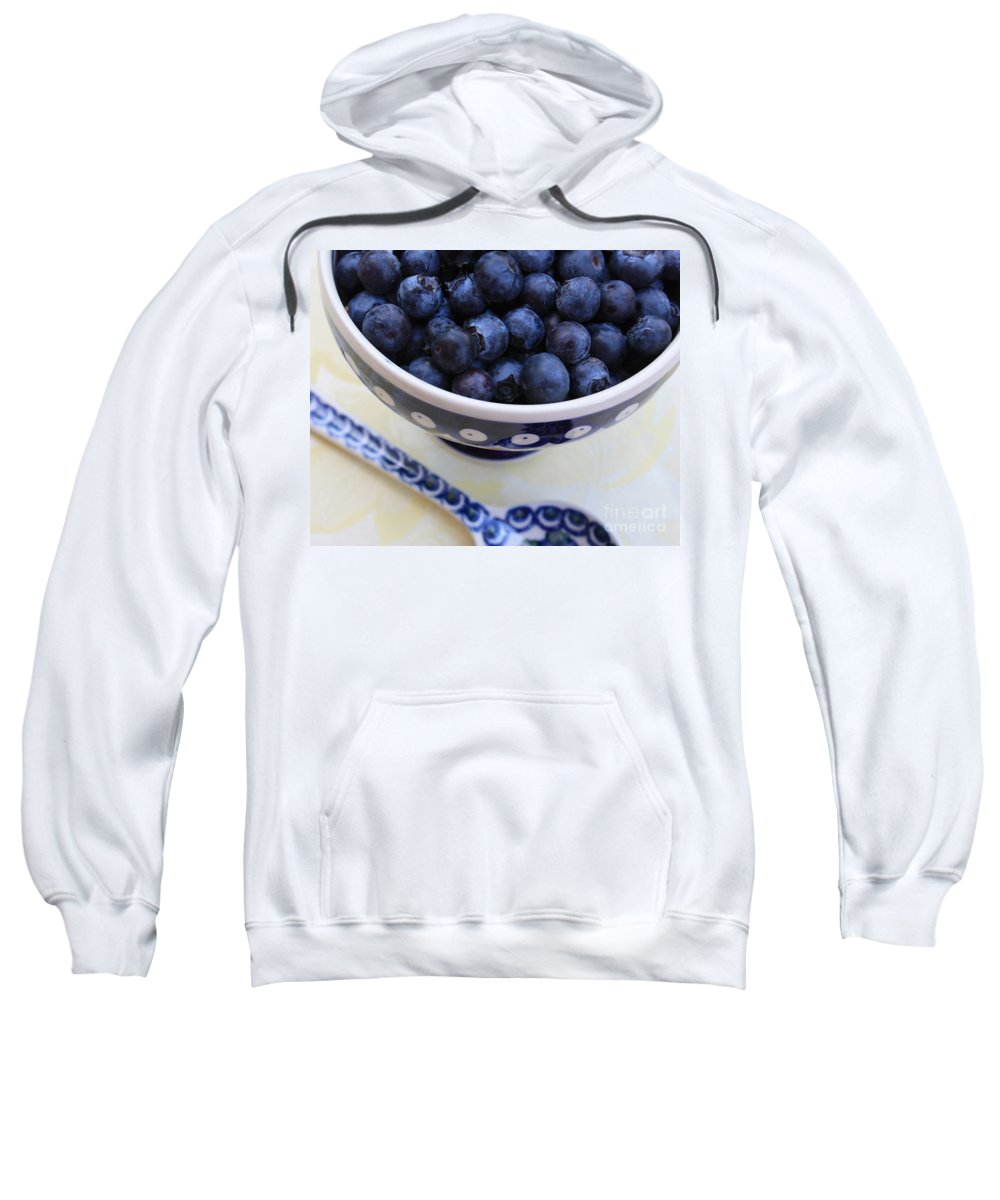 Food Sweatshirt featuring the photograph Blueberries With Spoon by Carol Groenen