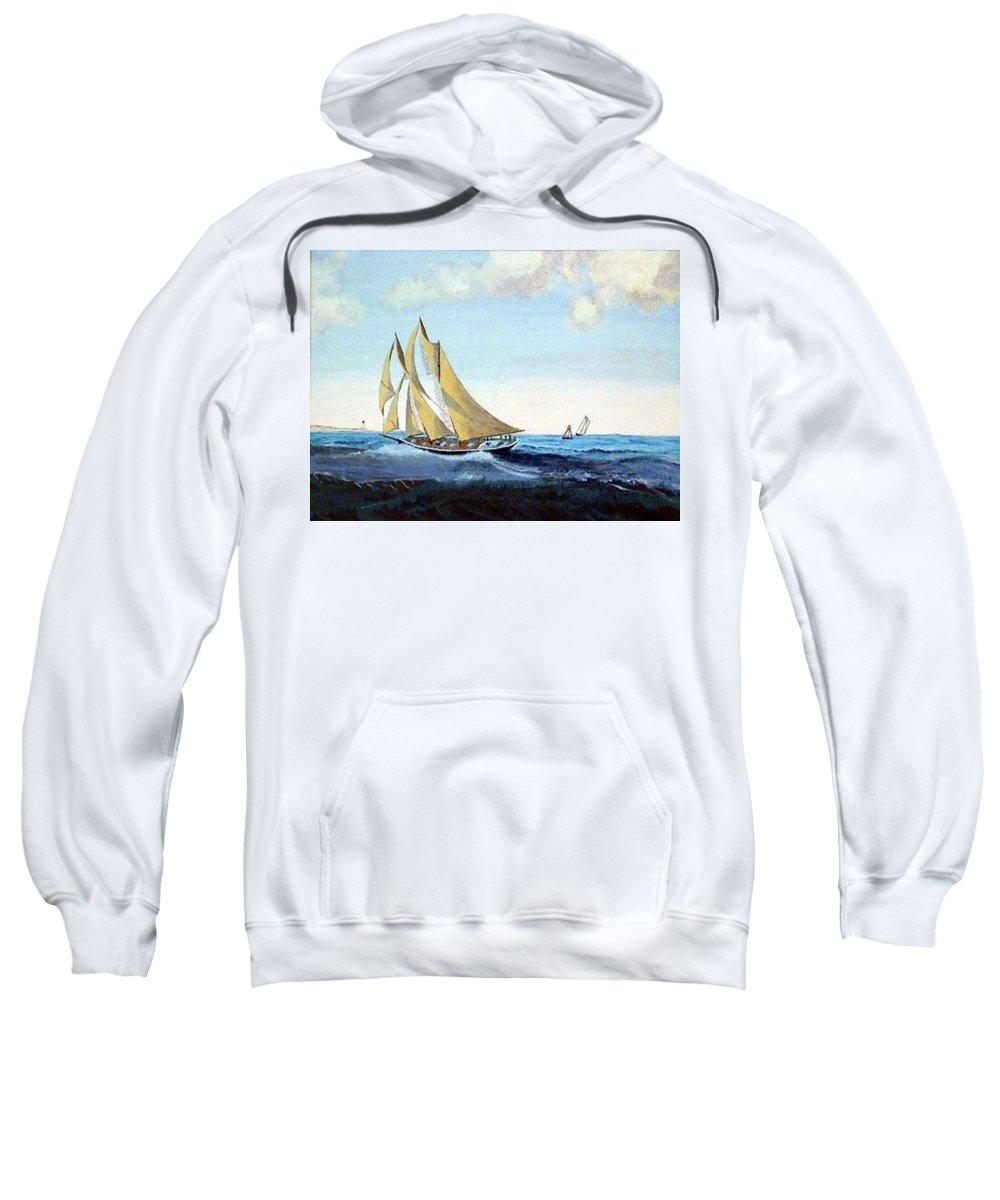 Bluenose Sweatshirt featuring the painting Bluenose by Richard Le Page