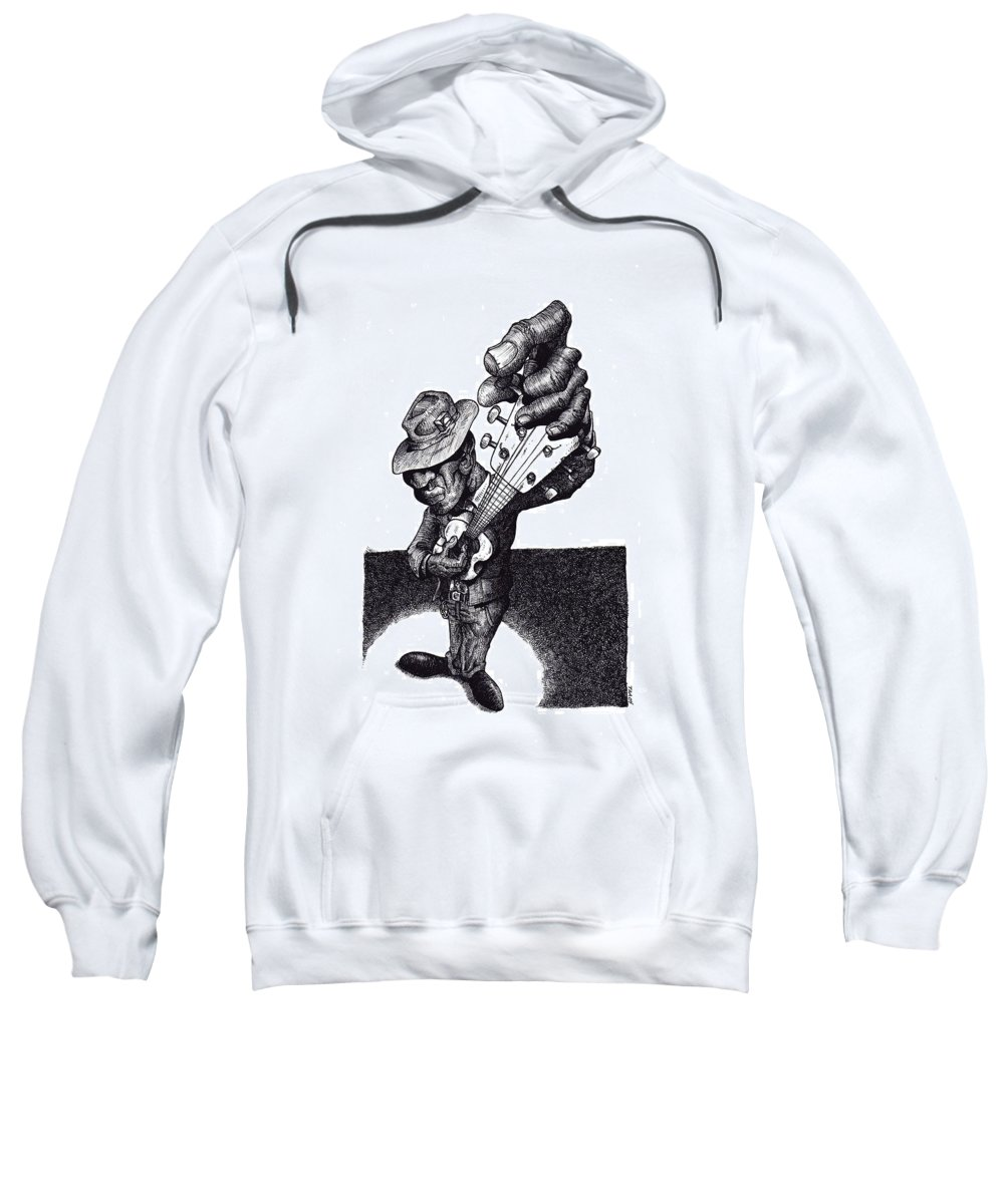 Blues Sweatshirt featuring the drawing Blues Guitar by Tobey Anderson