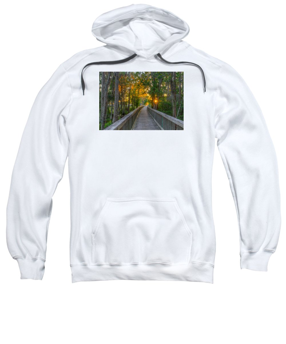 Tampa Bay Sweatshirt featuring the photograph Boardwalk Sunset by Lance Raab