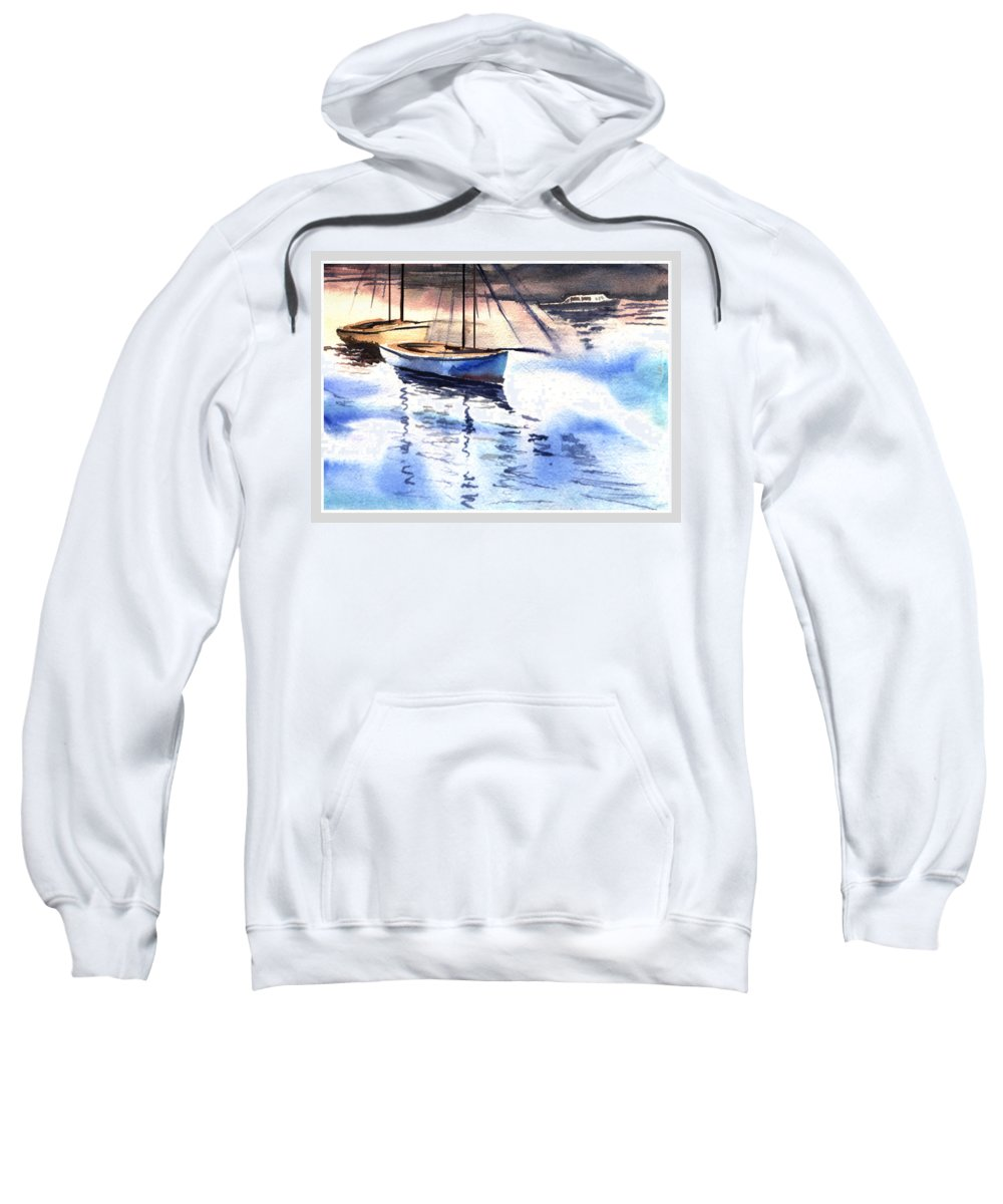 Watercolor Sweatshirt featuring the painting Boat And The River by Anil Nene