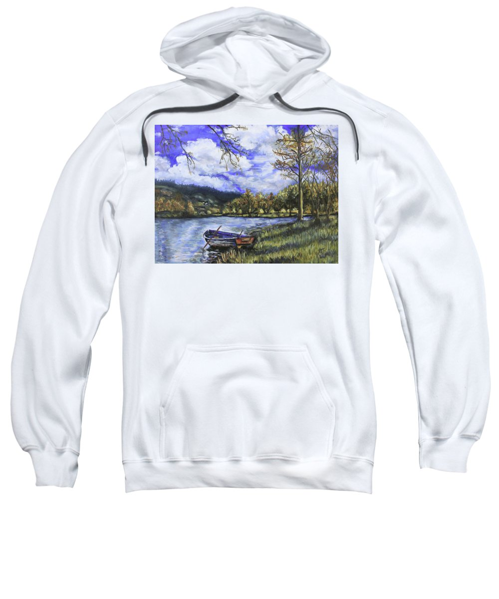 Oil Sweatshirt featuring the painting Boat By The Lake by Shuanteya Sherman