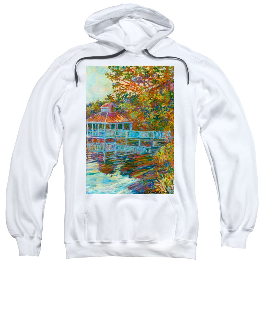 Mountain Lake Sweatshirt featuring the painting Boathouse At Mountain Lake by Kendall Kessler