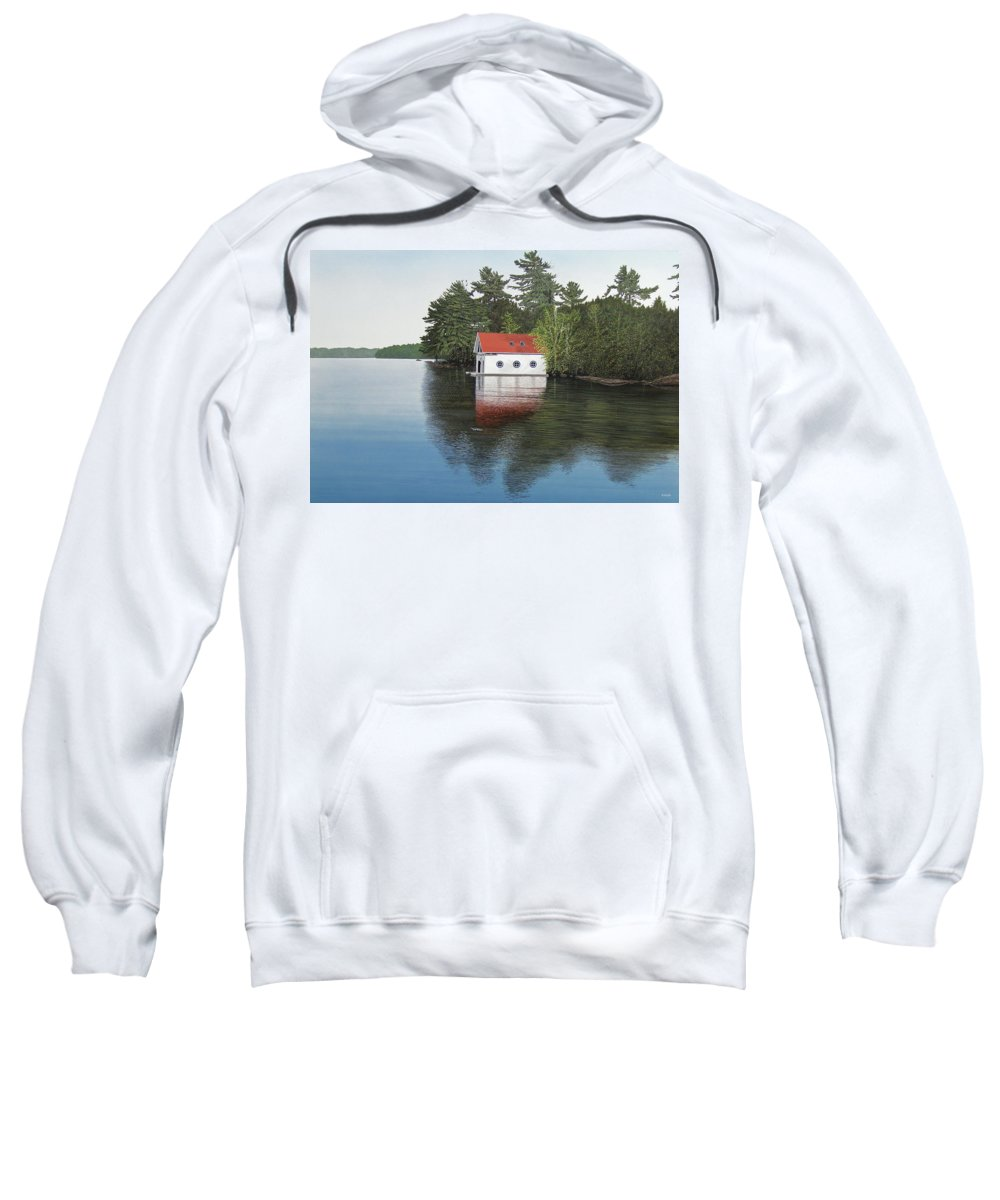 Canoe Sweatshirt featuring the painting Boathouse by Kenneth M Kirsch