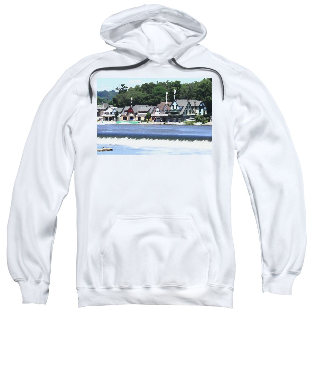 Boathouse Sweatshirt featuring the photograph Boathouse Row - Palette Knife by Lou Ford