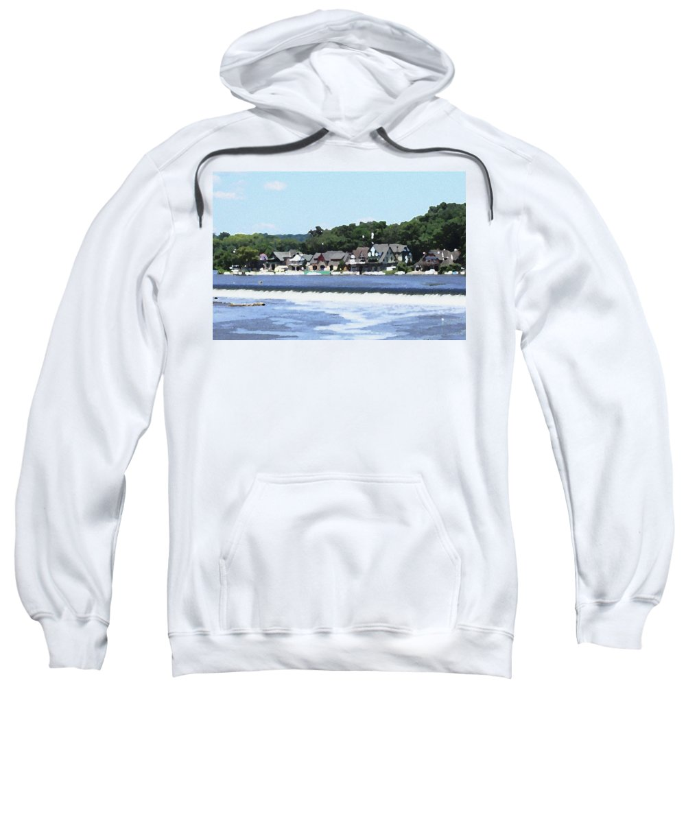 Boathouse Sweatshirt featuring the photograph Boathouse Row 2 - Palette Knife by Lou Ford