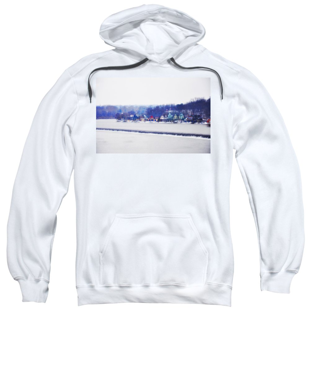 Boathouse Row Sweatshirt featuring the photograph Boathouse Row In Winter by Bill Cannon