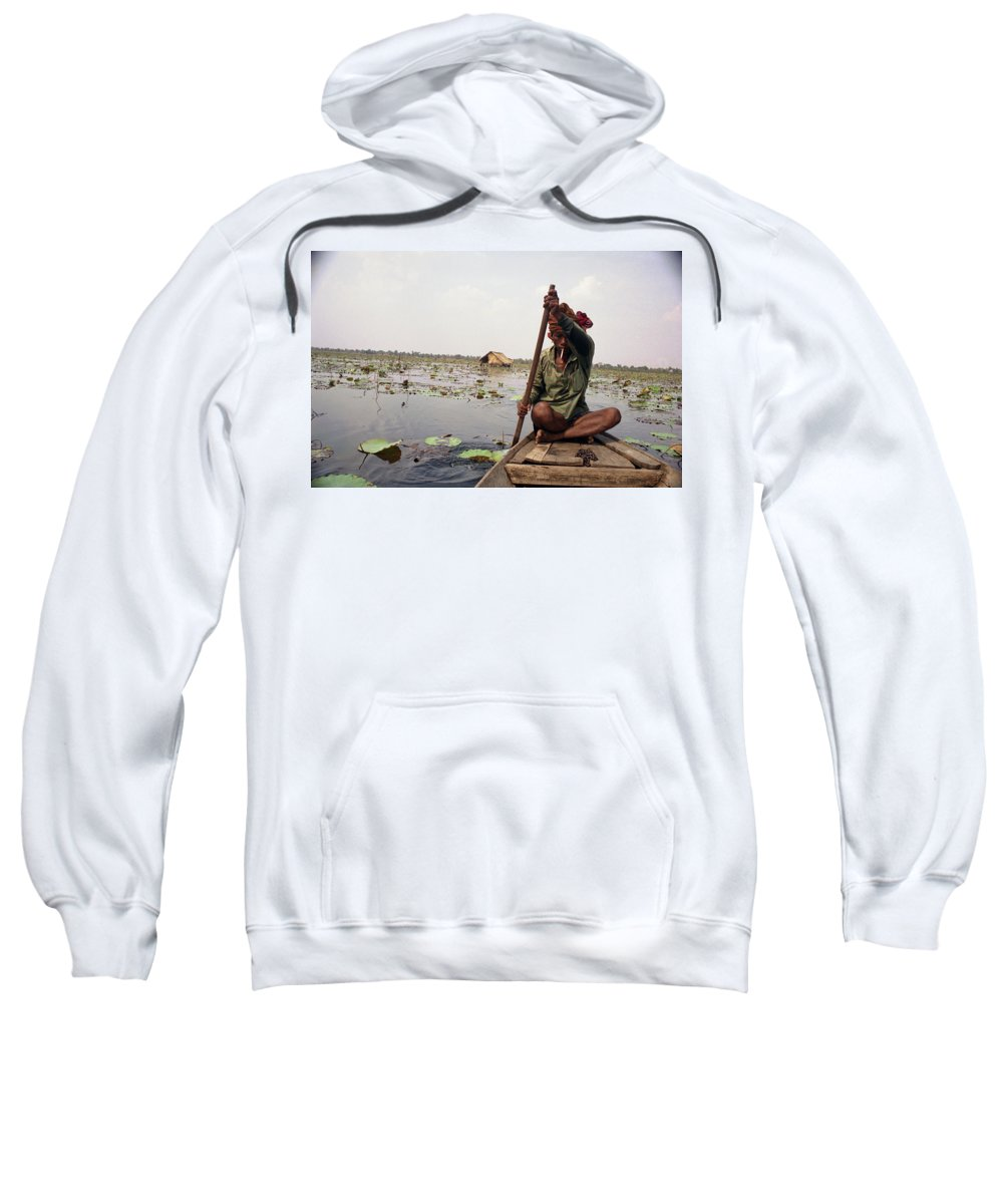 Cambodia Sweatshirt featuring the photograph Boatman - Battambang by Patrick Klauss