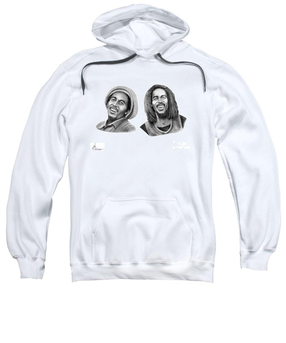 Drawing Sweatshirt featuring the drawing Bob And Bob Marley by Murphy Elliott
