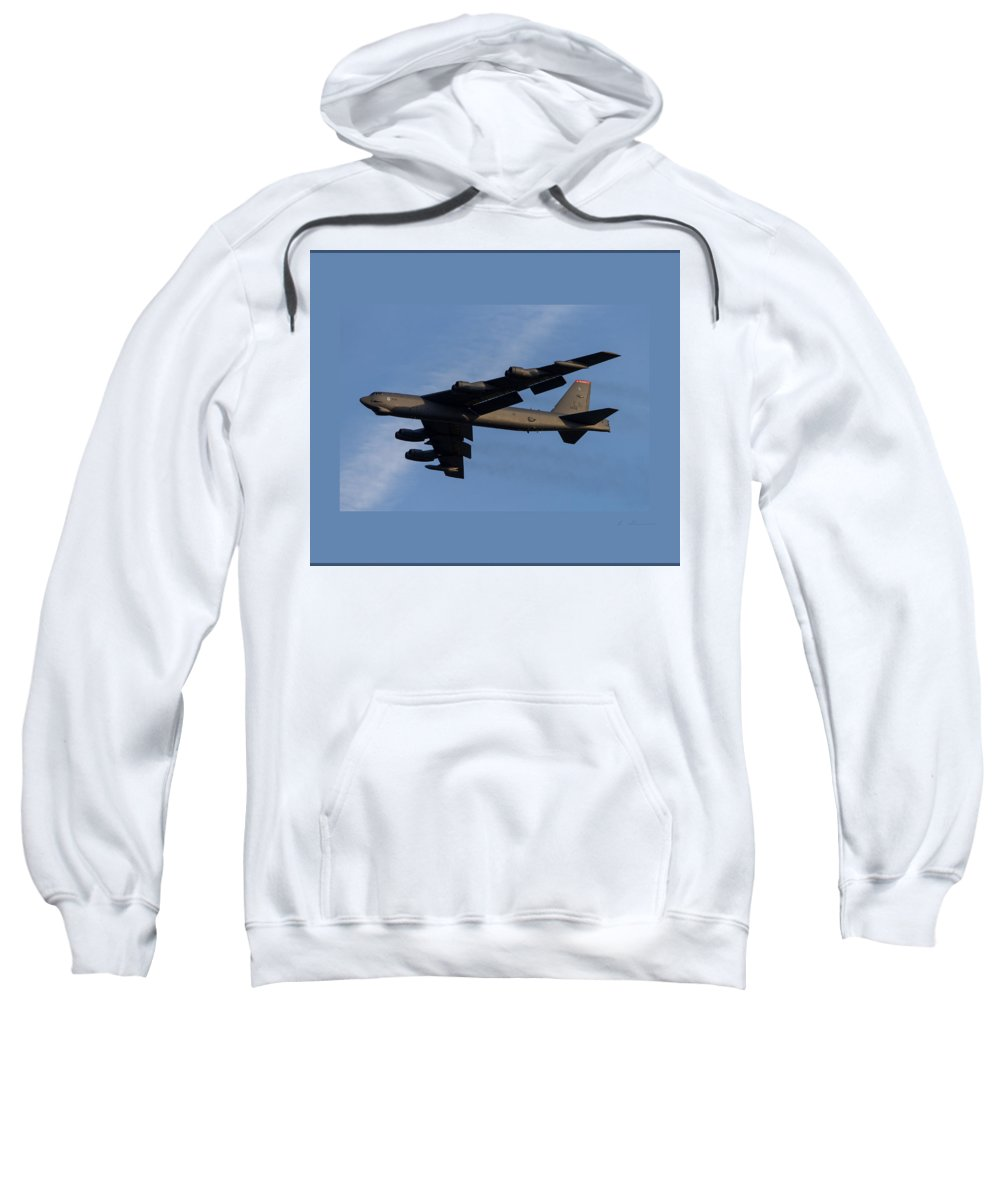 Boeing Sweatshirt featuring the photograph Boeing B-52 Stratofortress Taking Off From Tinker Air Force Base Oklahoma With Double Border by L Brown