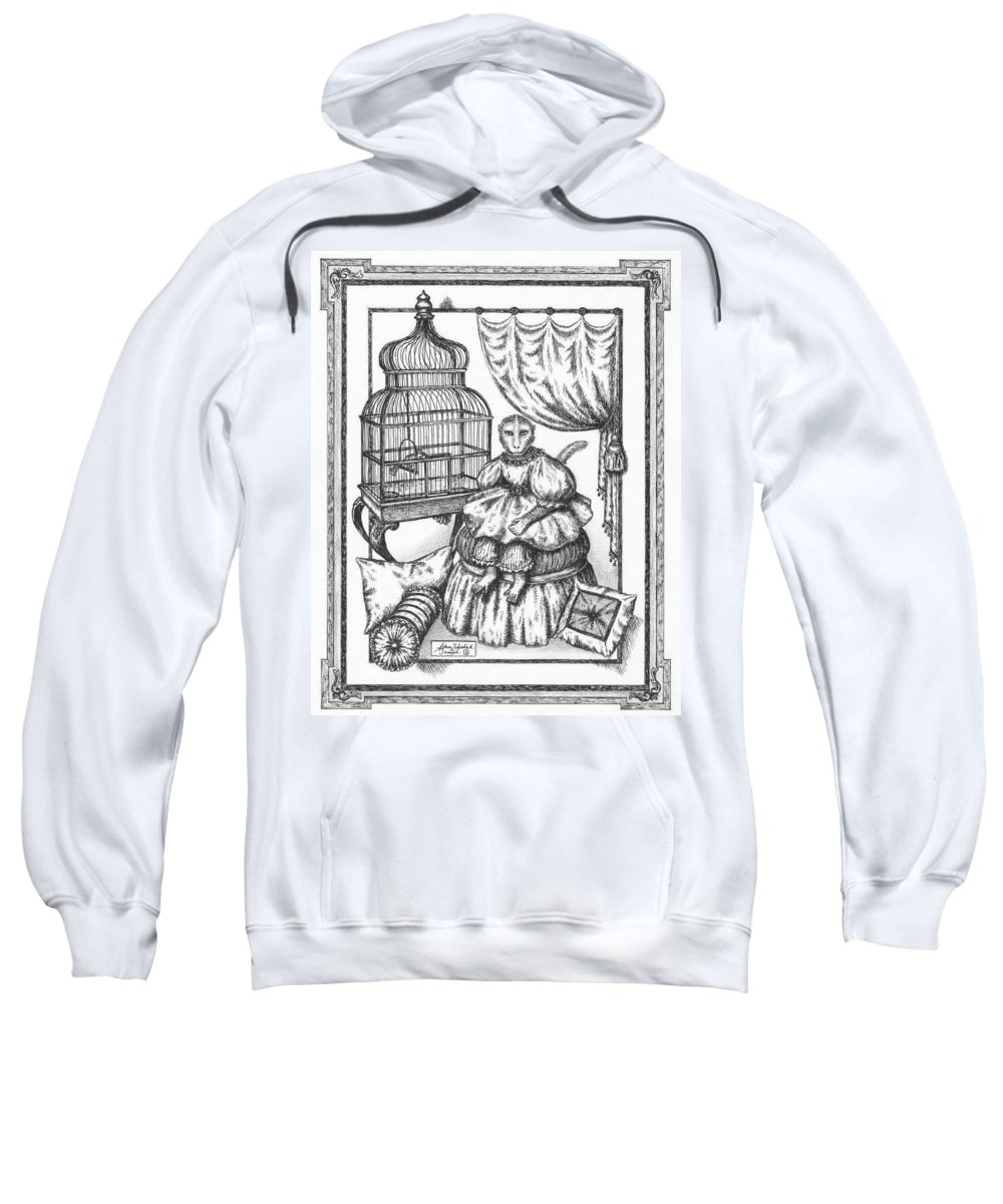 Black Sweatshirt featuring the drawing Bombay Monkey II by Adam Zebediah Joseph